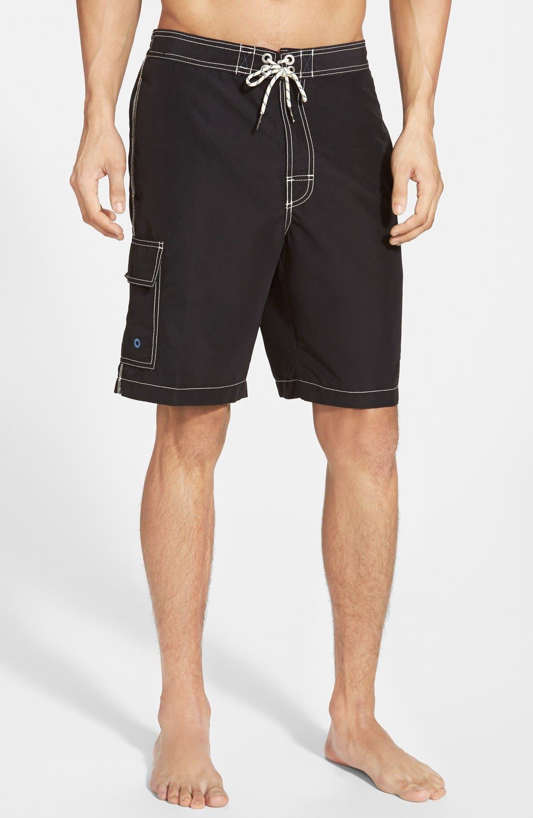 'Baja Poolside' Board Shorts,                         Main,                         color, Black