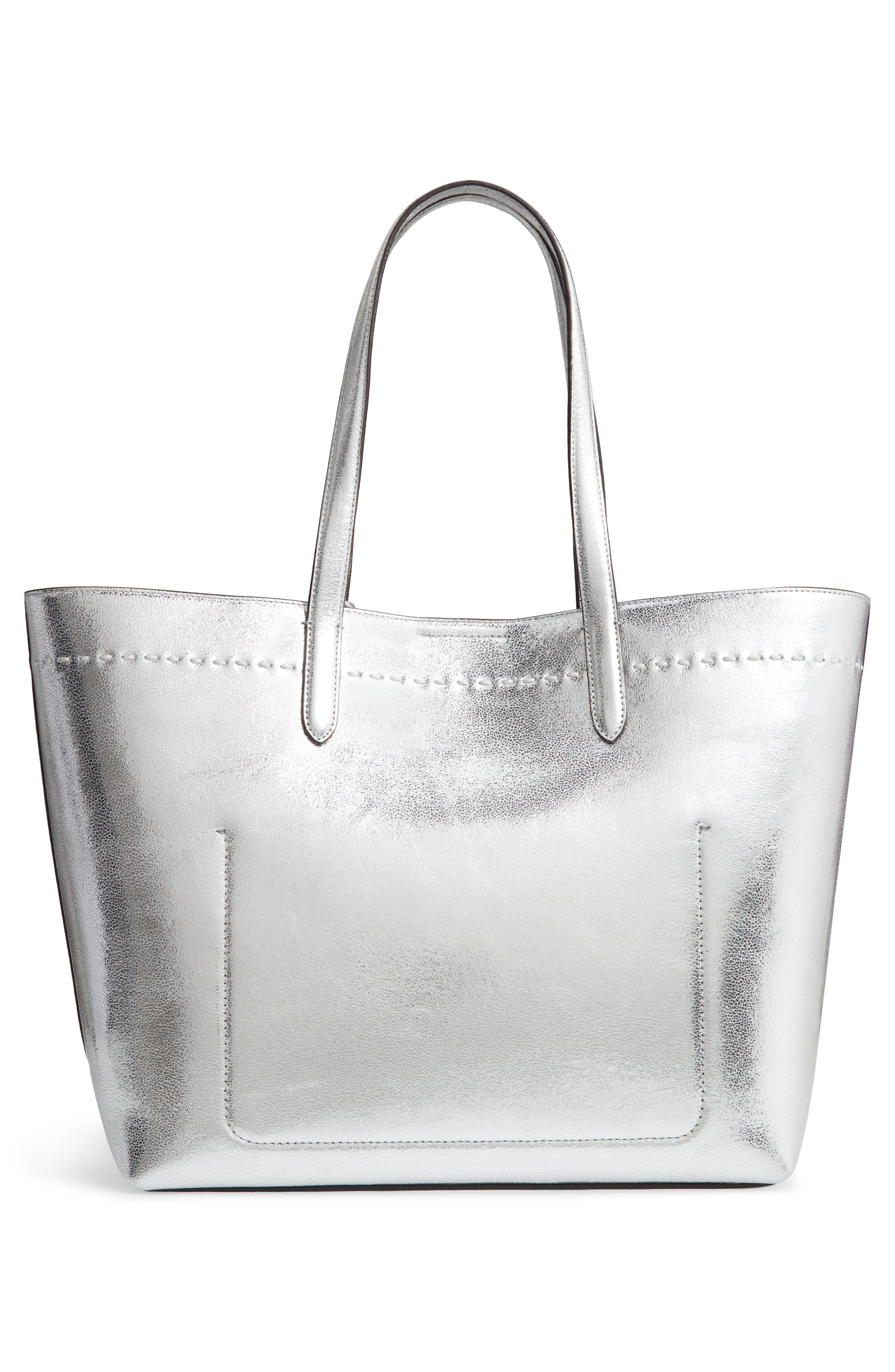 Payson Metallic Leather Tote,                             Alternate thumbnail 5, color,                             Ch Silver