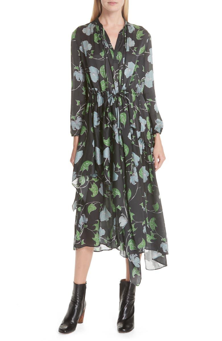 Floral Print Asymmetrical Silk Charmeuse Dress