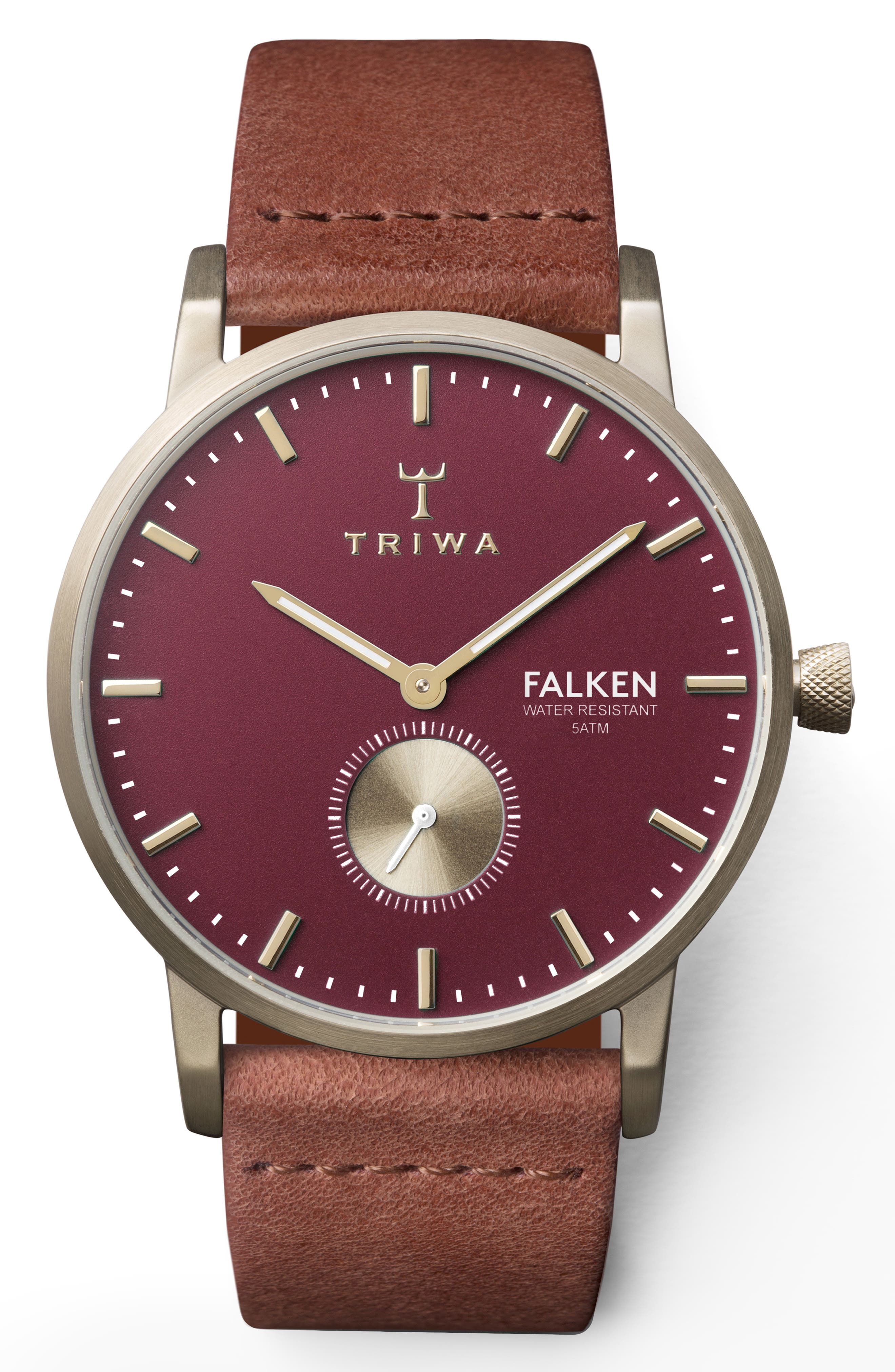 TRIWA Ruby Falken Leather Strap Watch, 38Mm in Brown/ Red/ Gold