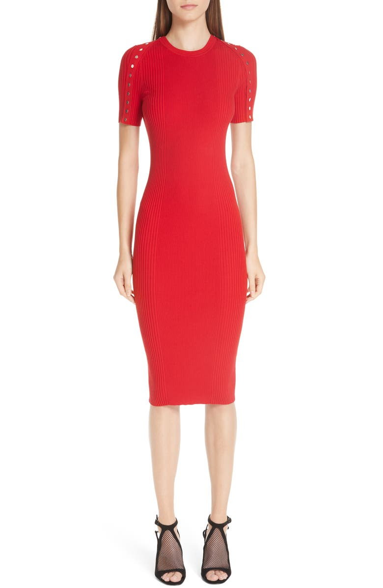 Snap Sleeve Body-Con Midi Dress