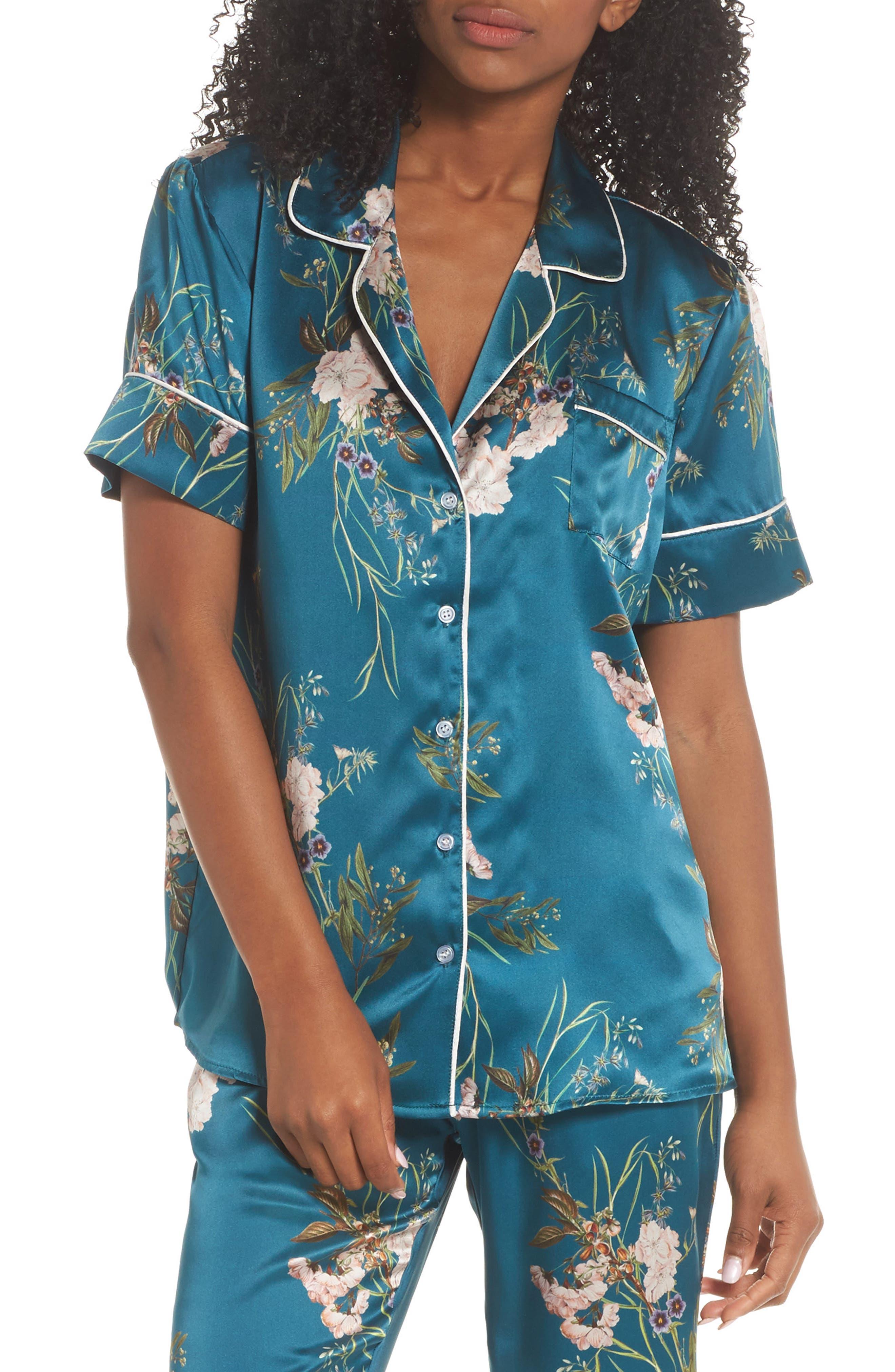 Jenny Silk Pajama Top,                         Main,                         color, Teal Floral