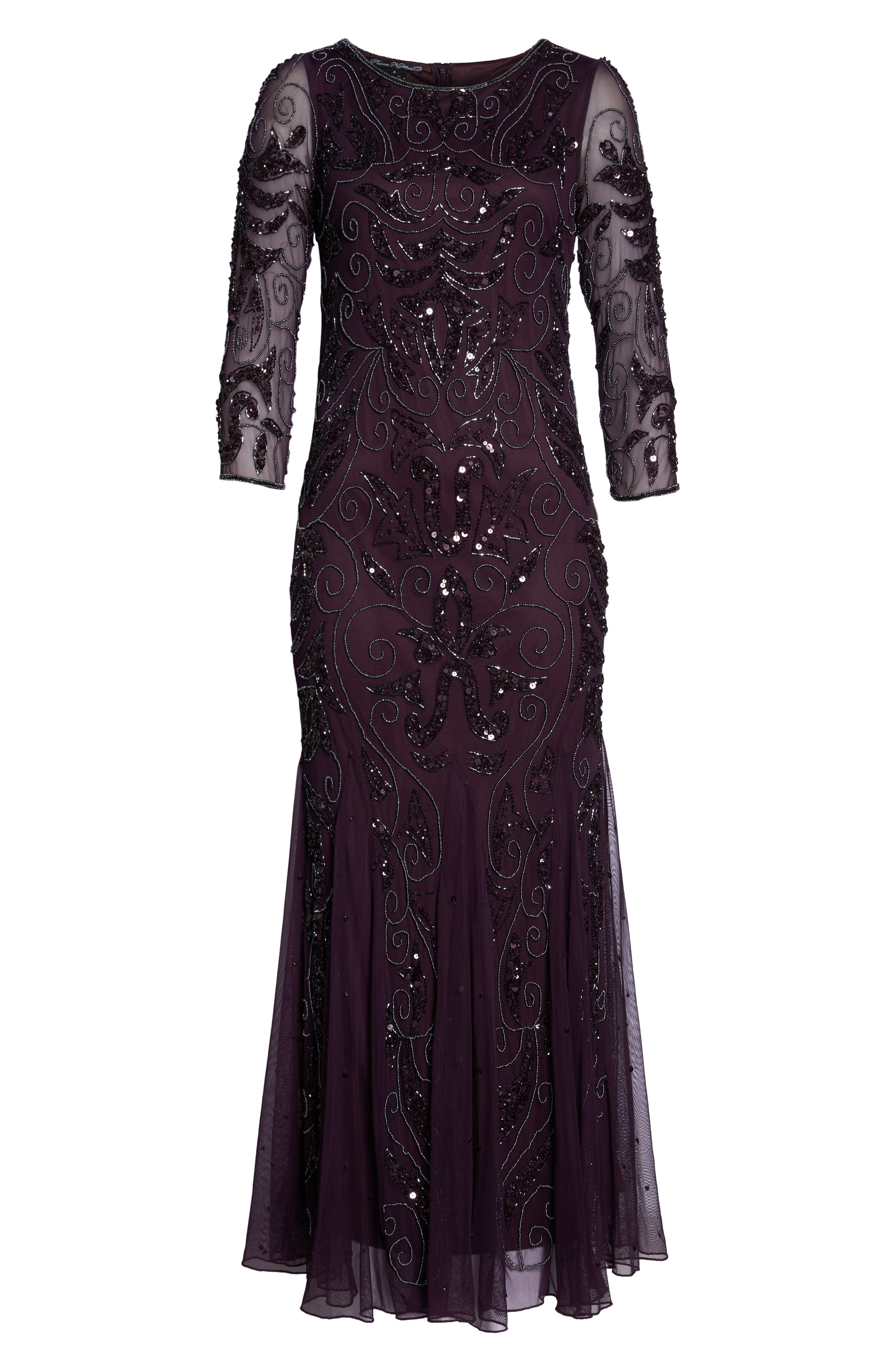 Embellished Mesh Gown,                             Alternate thumbnail 6, color,                             Wine/ Gunmetal