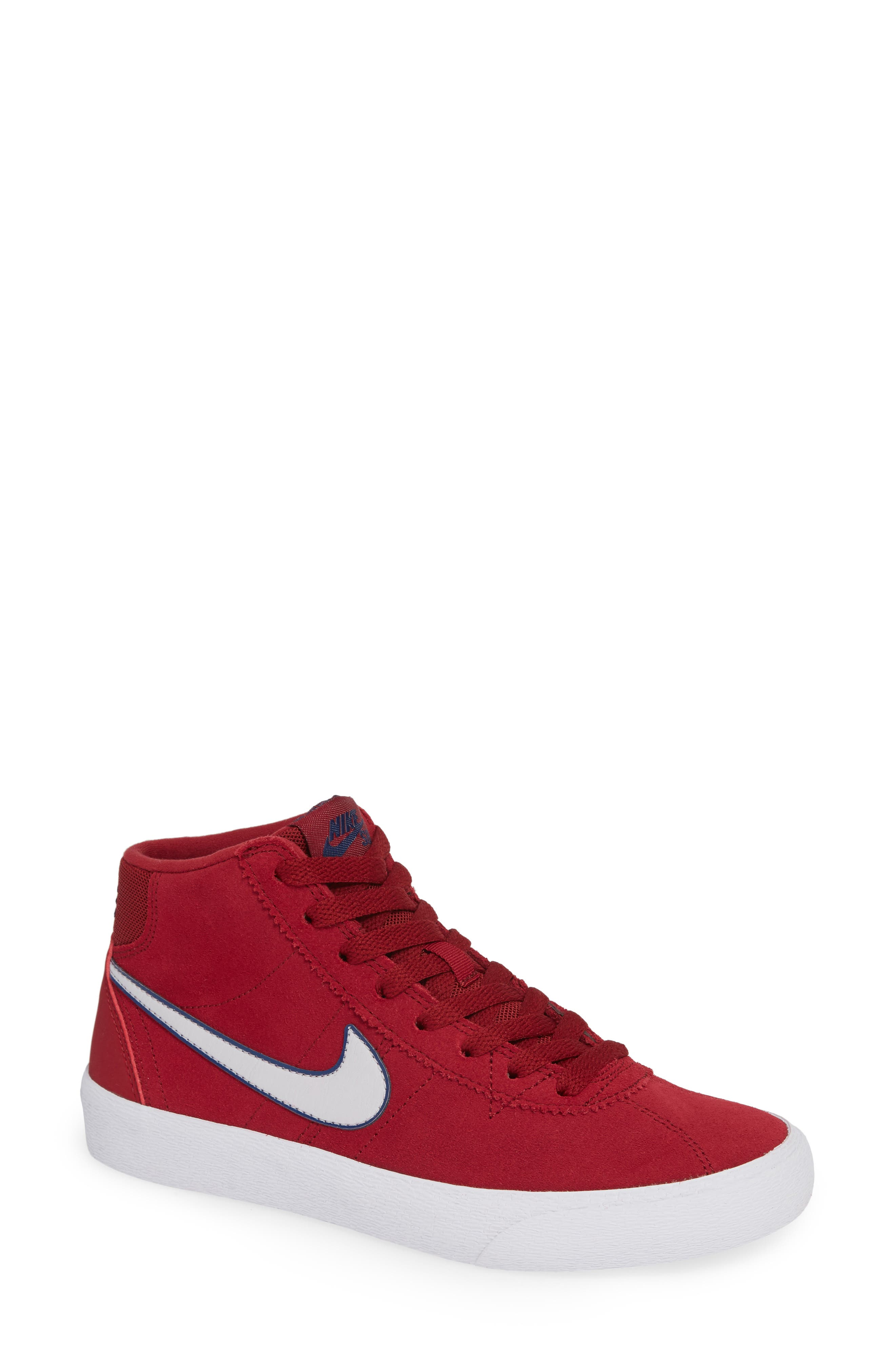 SB Bruin Hi Skateboarding Sneaker,                         Main,                         color, Red Crush/ Vast Grey/ White