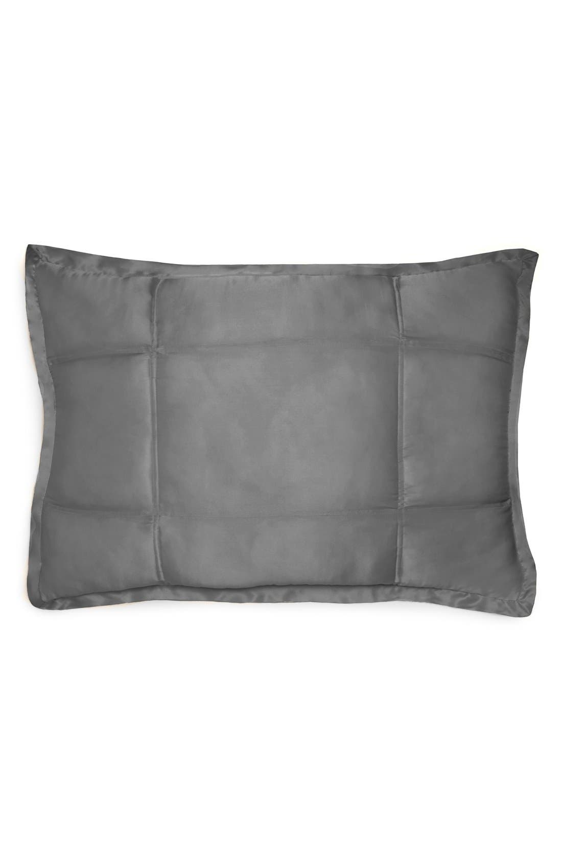 Donna Karan Collection 'Surface' Silk Charmeuse Quilted Pillow Sham,                             Main thumbnail 1, color,                             Charcoal