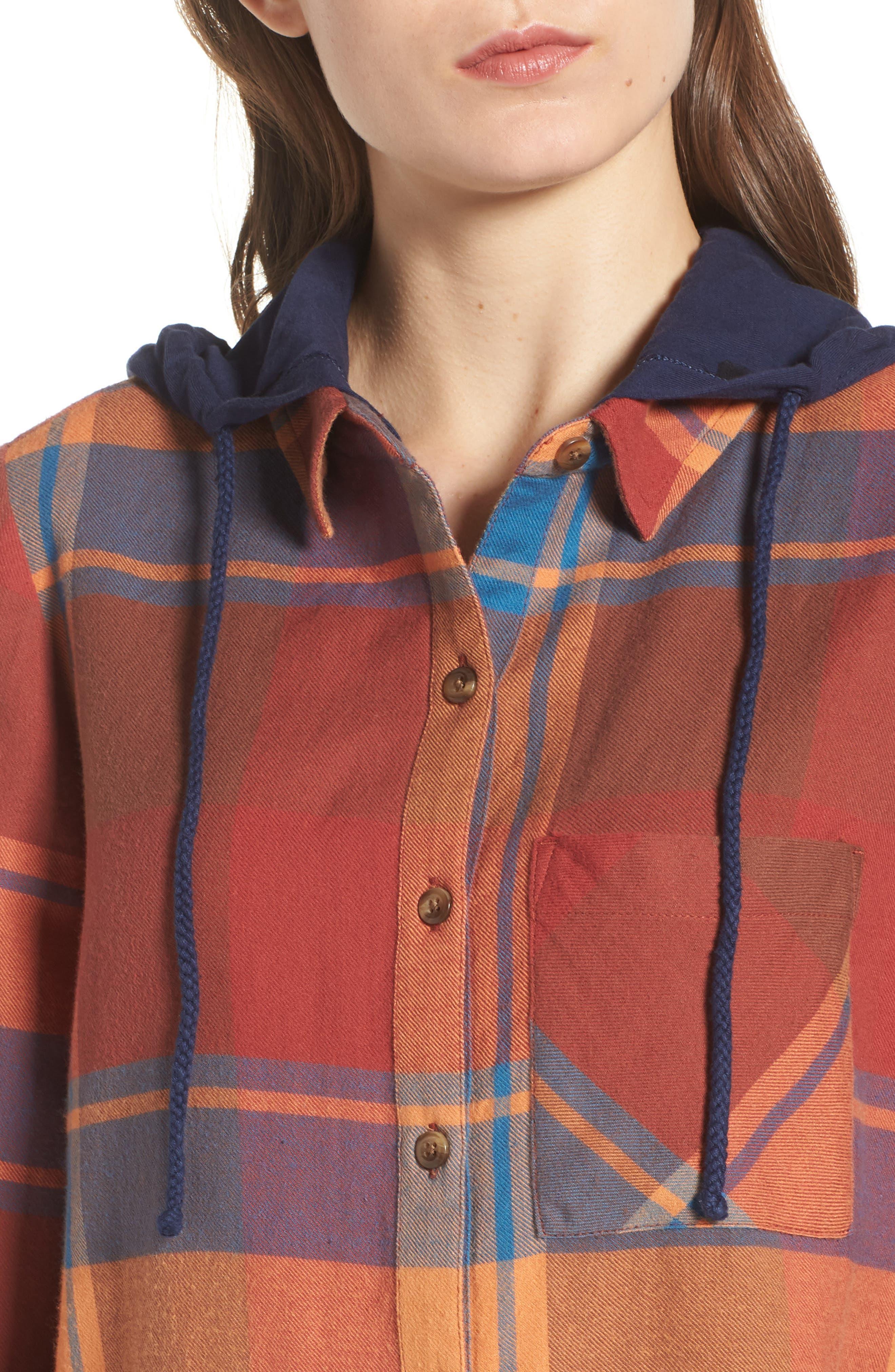 Hooded Plaid Shirt,                             Alternate thumbnail 4, color,                             Blue Star Roselyn Plaid