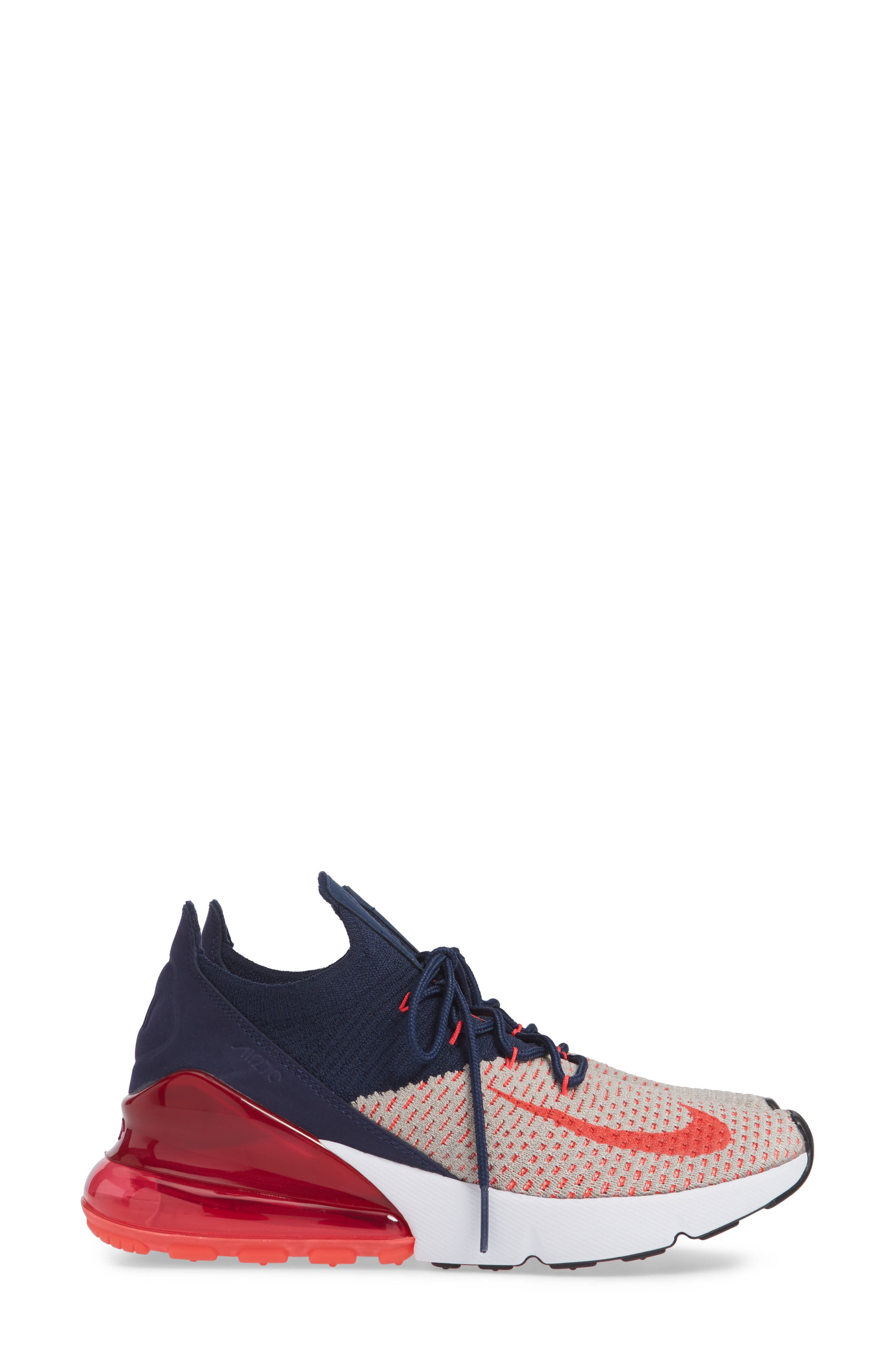 Air Max 270 Flyknit Sneaker,                             Alternate thumbnail 5, color,                             Moon Particle/ Red Orbit/ Navy
