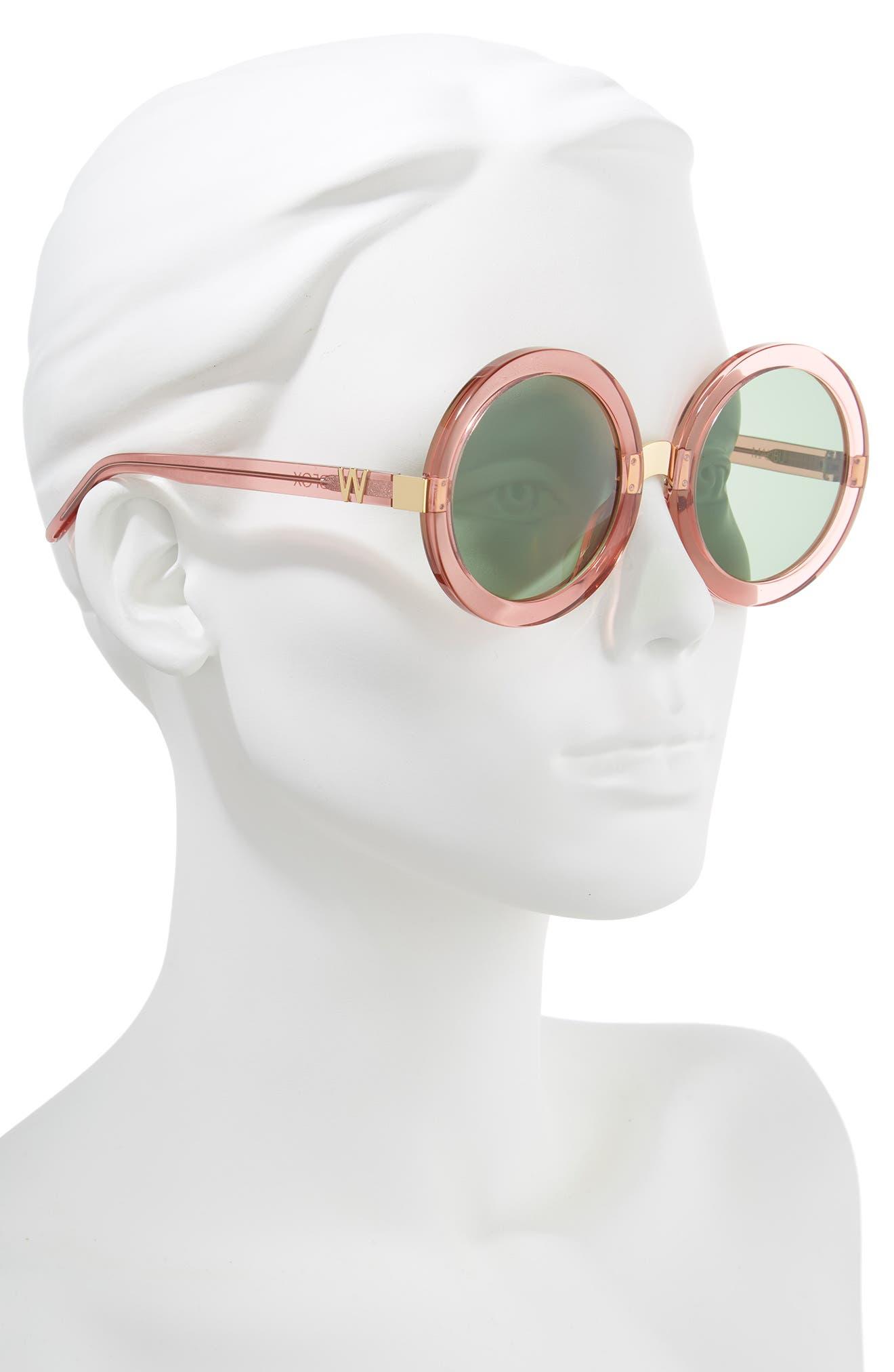 'Malibu' 56mm Round Sunglasses,                             Alternate thumbnail 2, color,                             Rosewater/ Bottle Green