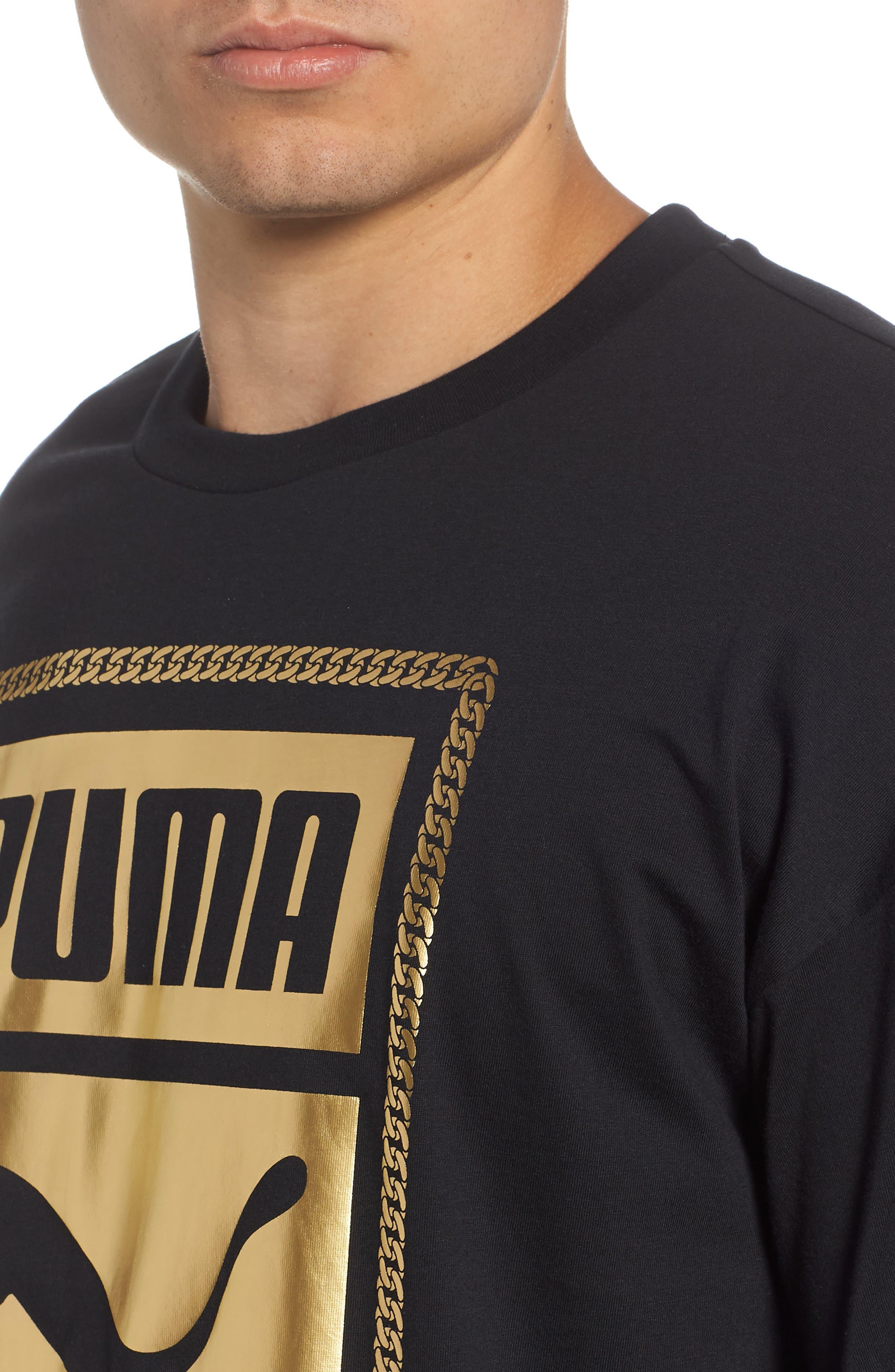 Chains T-Shirt,                             Alternate thumbnail 4, color,                             Puma Black/ Gold