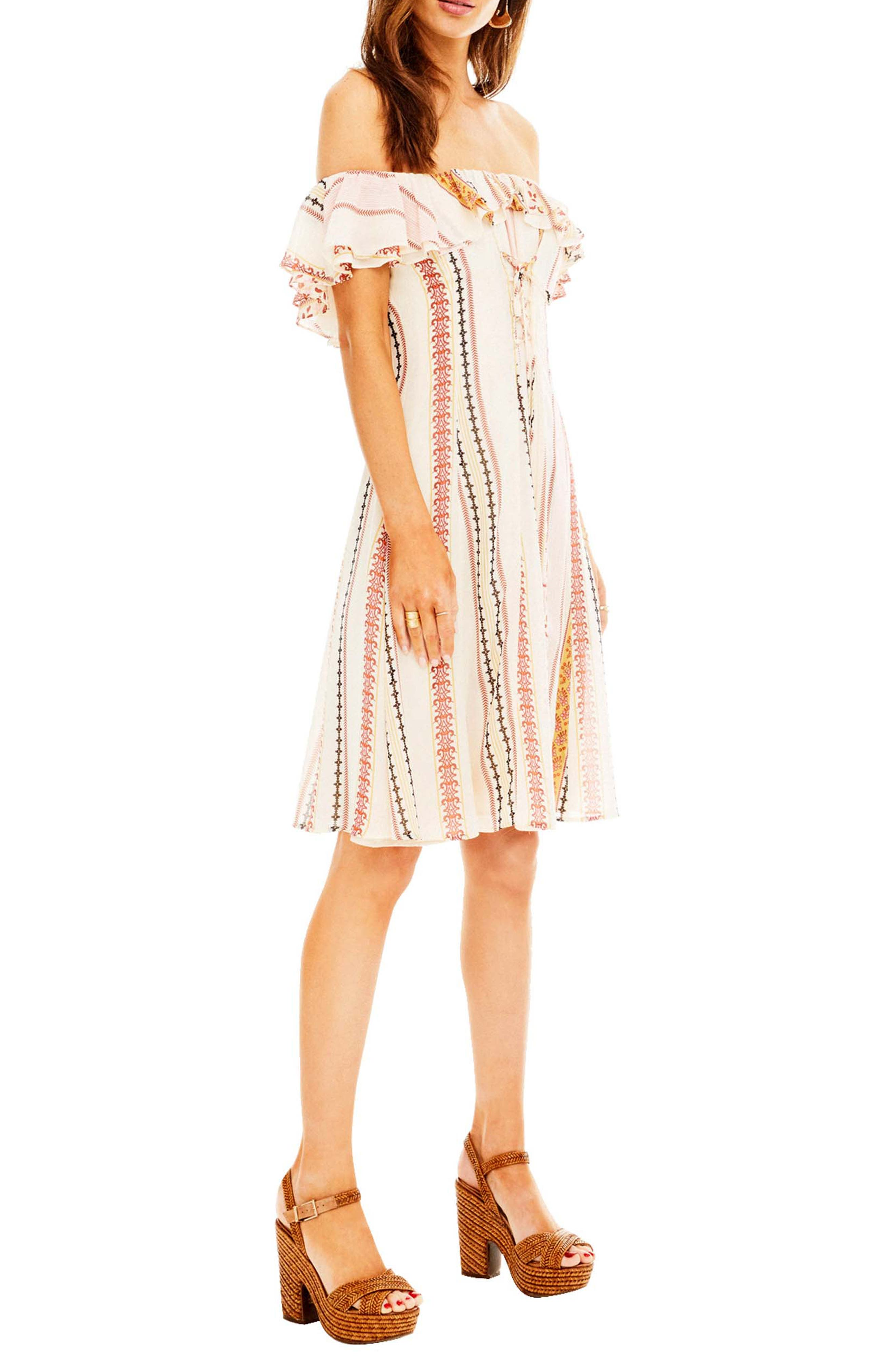Cassidy Dress,                             Alternate thumbnail 3, color,                             Cream Floral Stripe
