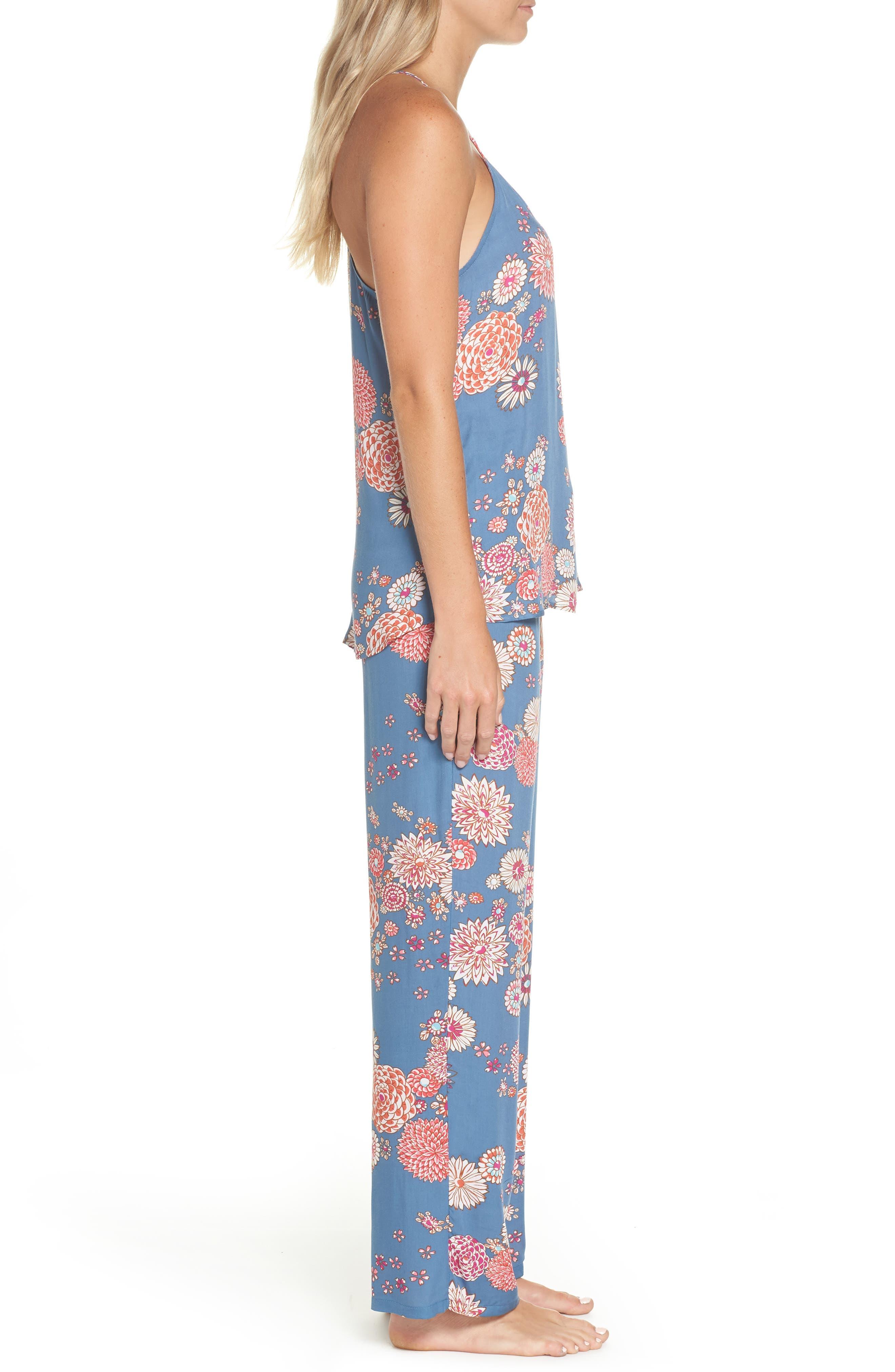 Floral Pajamas,                             Alternate thumbnail 3, color,                             Steallar Blue