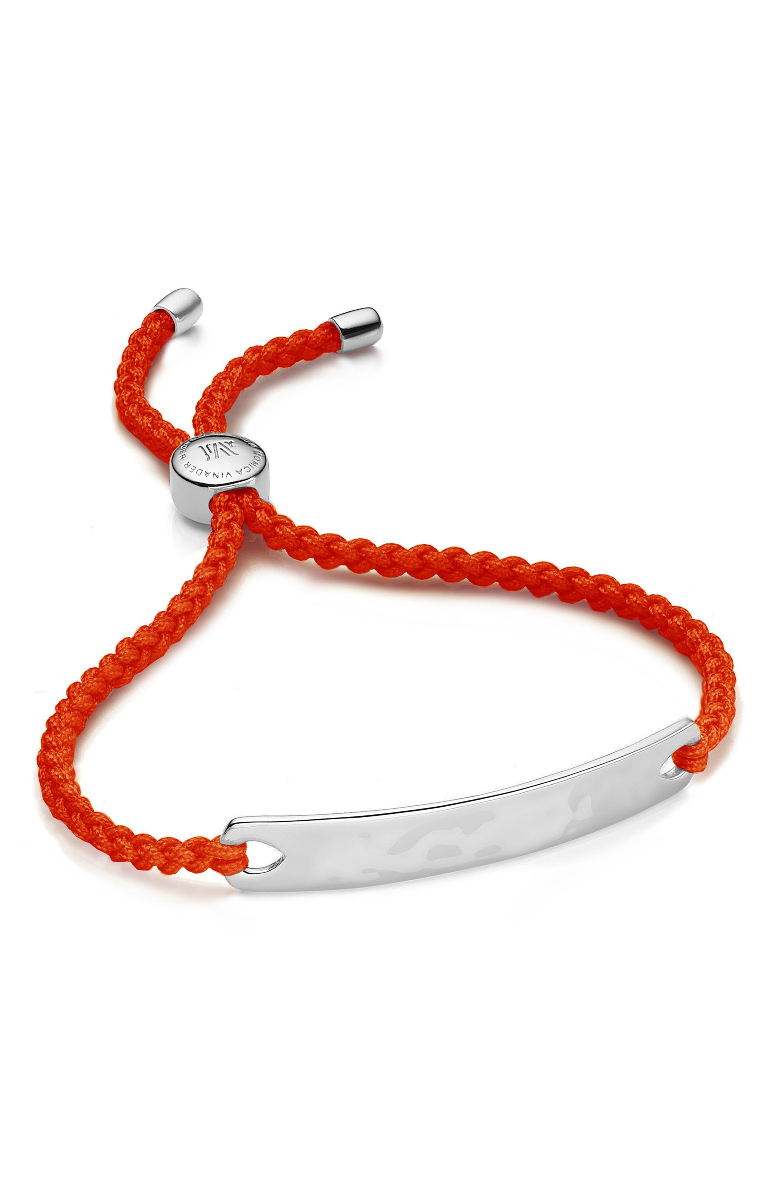 Engravable HavanaFriendship Bracelet,                             Main thumbnail 1, color,                             Silver/ Poppy