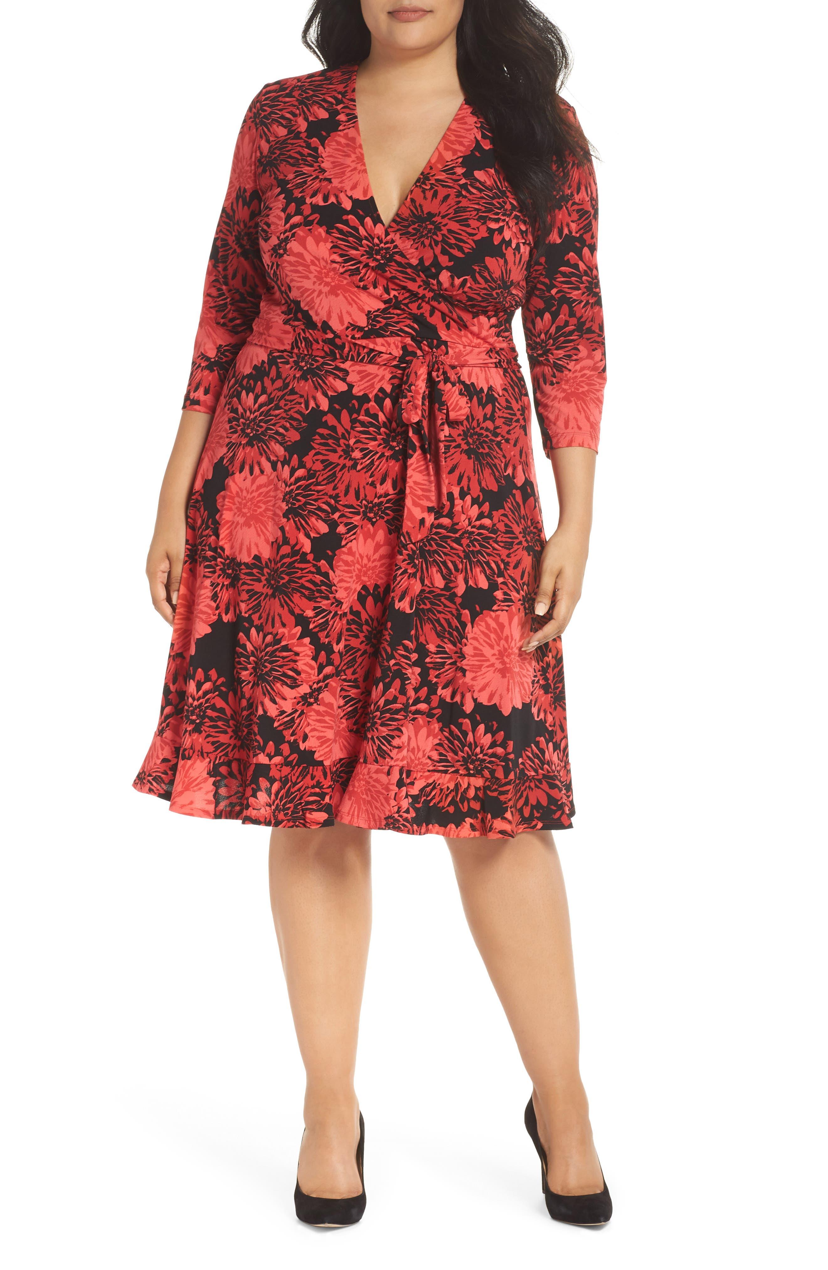 LEOTA Perfect Faux Wrap Ruffle Dress in Flourish