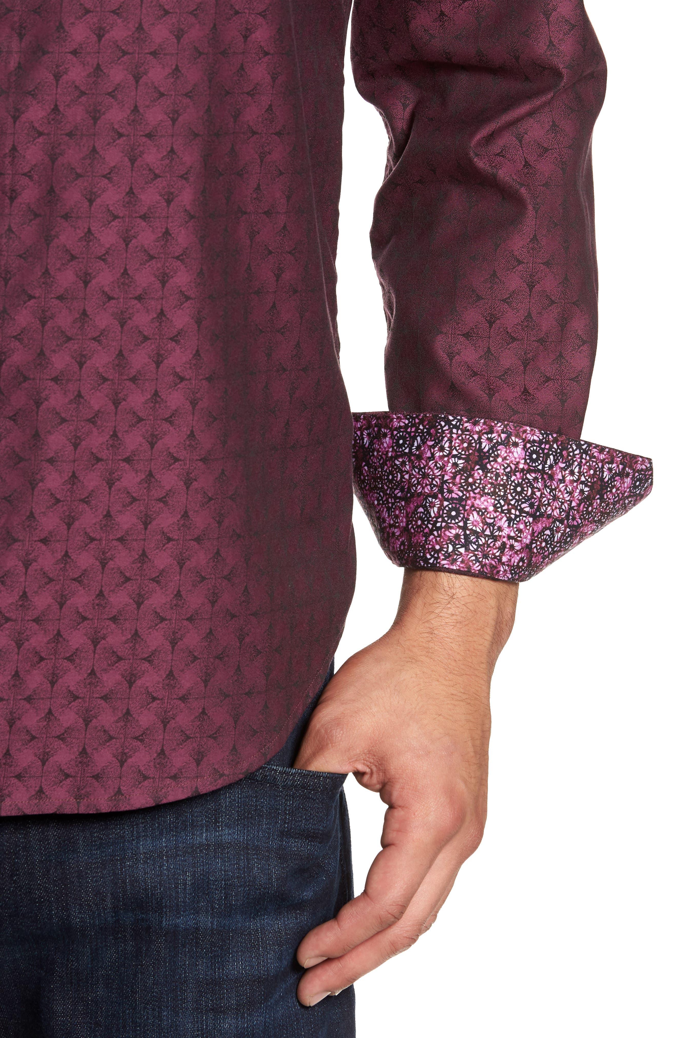Diamante Classic Fit Print Sport Shirt,                             Alternate thumbnail 2, color,                             Berry