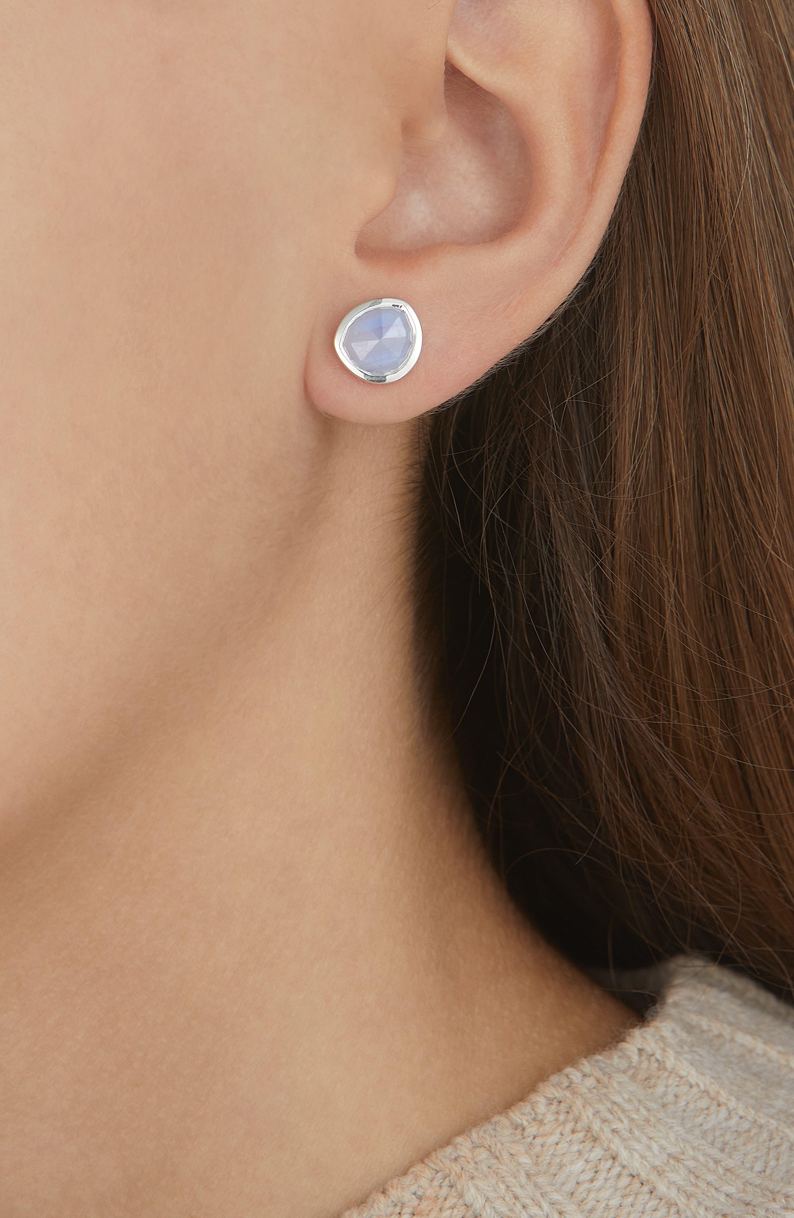 Siren Stud Earrings,                             Alternate thumbnail 2, color,                             Silver/ Blue Lace Agate