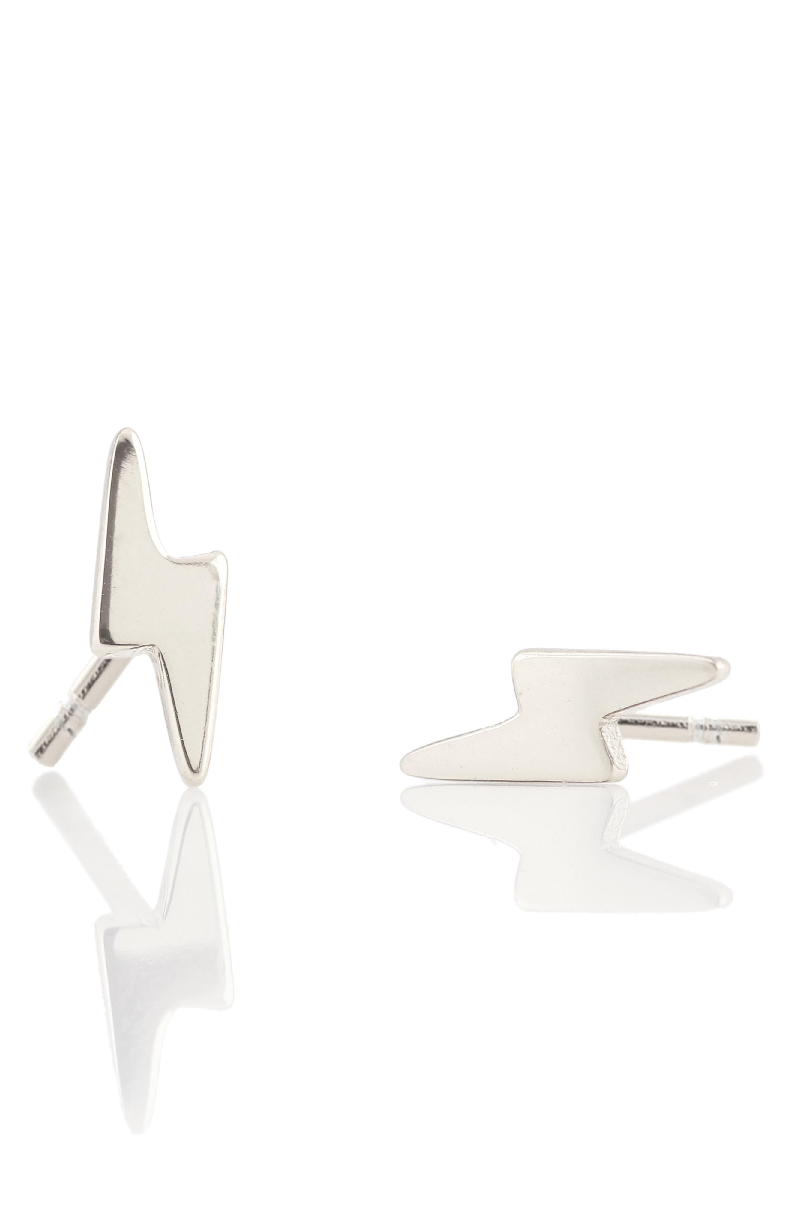 Pavé Lightning Bolt Stud Earrings,                         Main,                         color, Silver