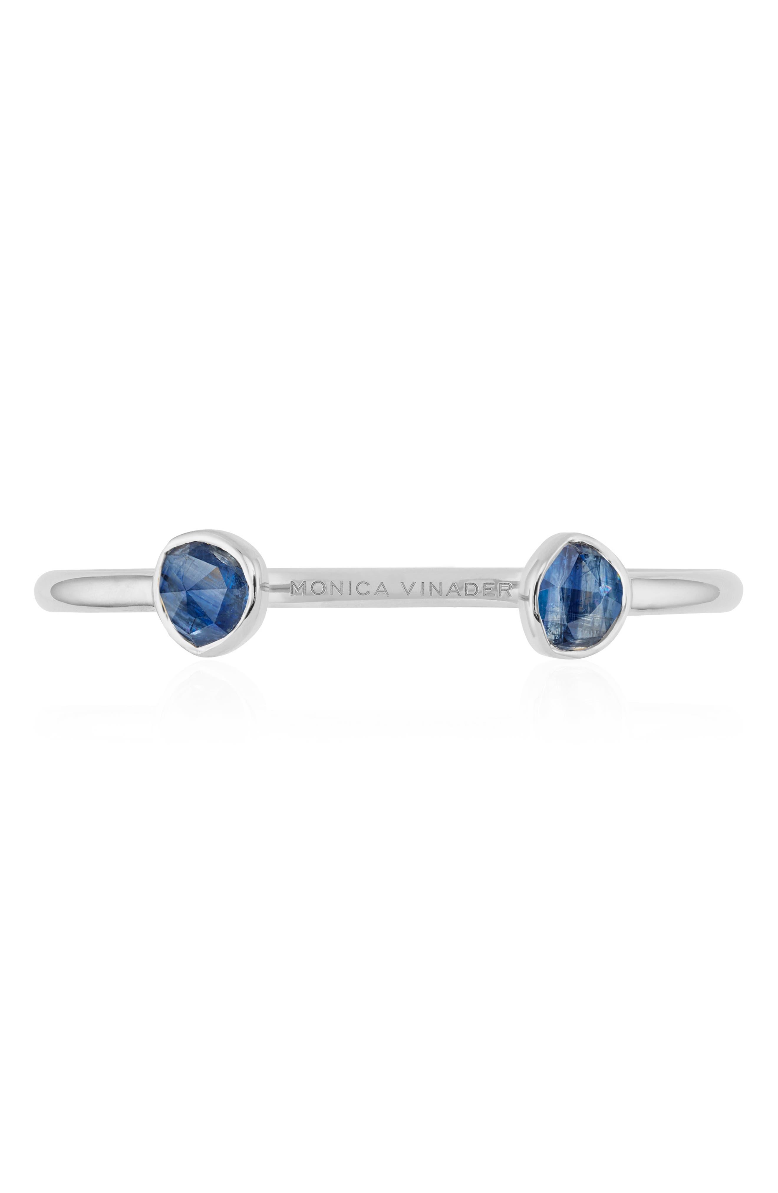 Siren Thin Cuff Bracelet,                             Alternate thumbnail 4, color,                             Silver/ Kyanite
