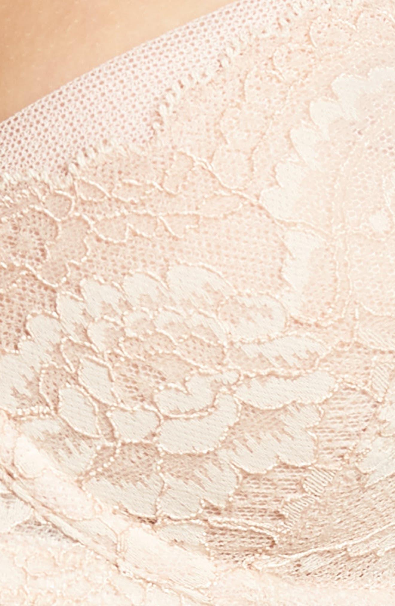 'Minx' Unlined Lace Demi Underwire Bra,                             Alternate thumbnail 5, color,                             Cashmere/ Blush