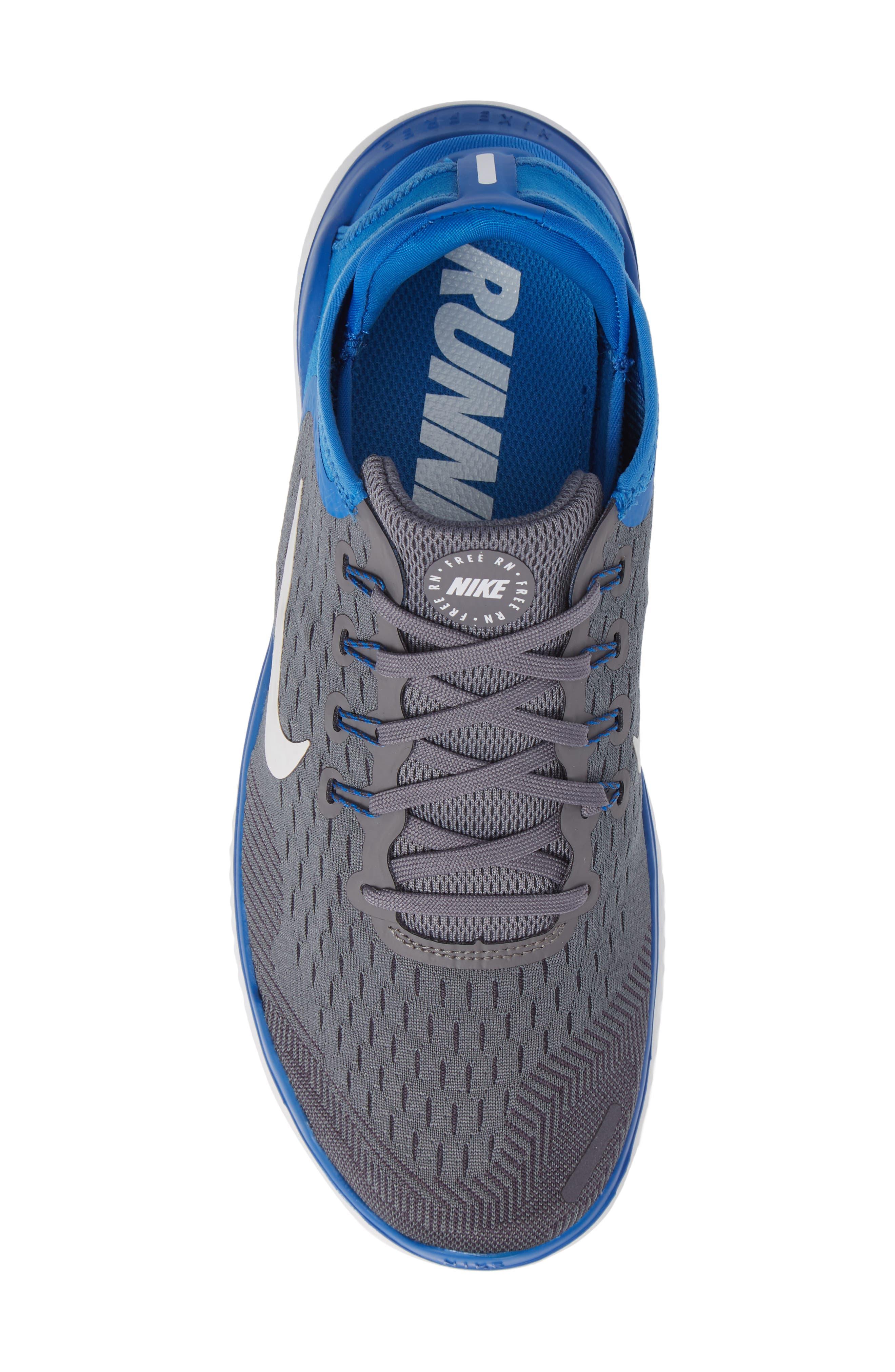 Free RN 2018 Running Shoe,                             Alternate thumbnail 6, color,                             Gunsmoke/ White/ Blue