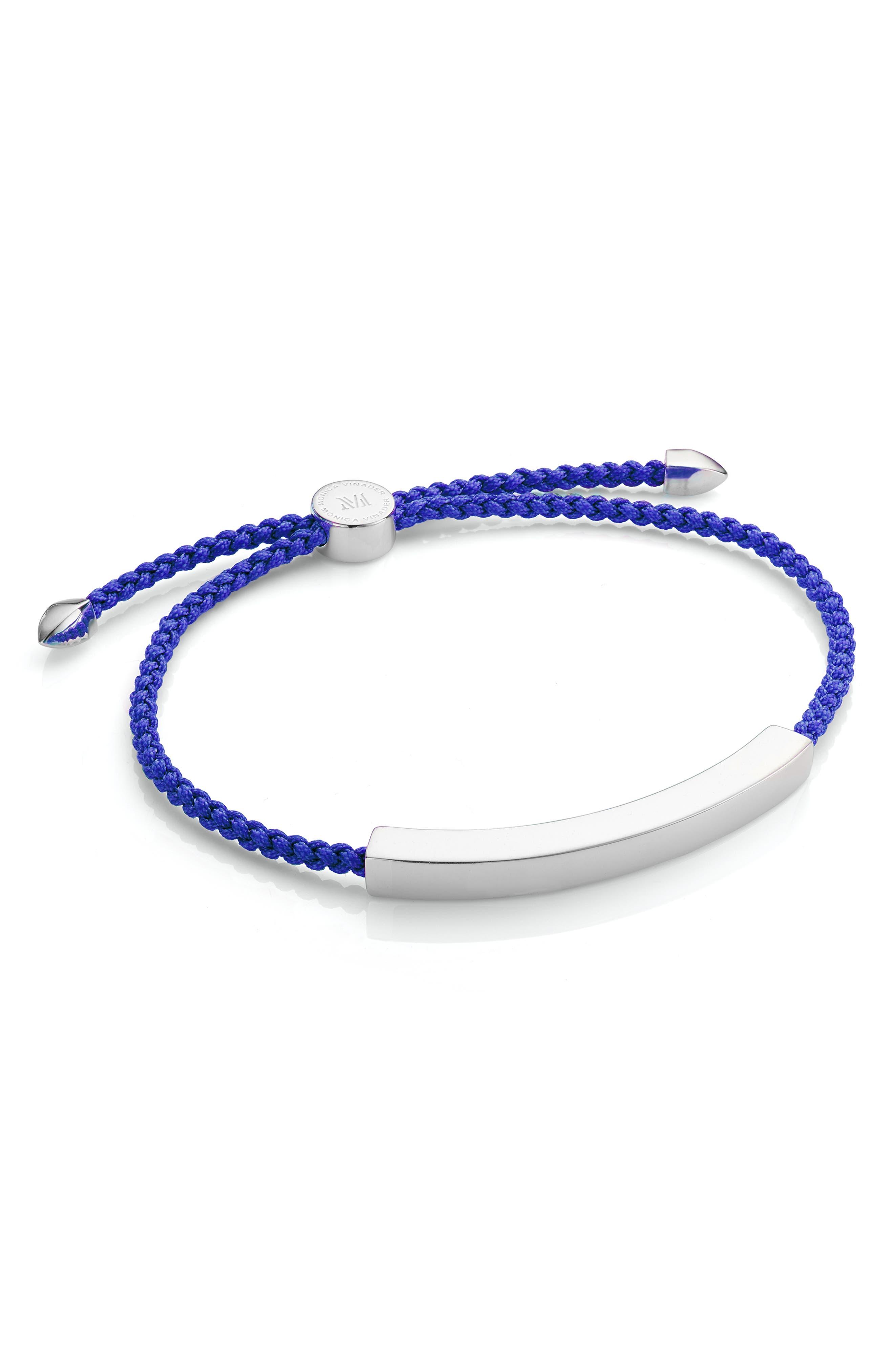 Engravable Men's Friendship Bracelet,                             Main thumbnail 1, color,                             Silver/ Majorelle Blue