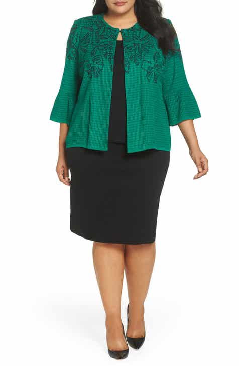 Ming Wang Embroidered Bell Sleeve Sweater Jacket (Plus Size) by Ming Wang