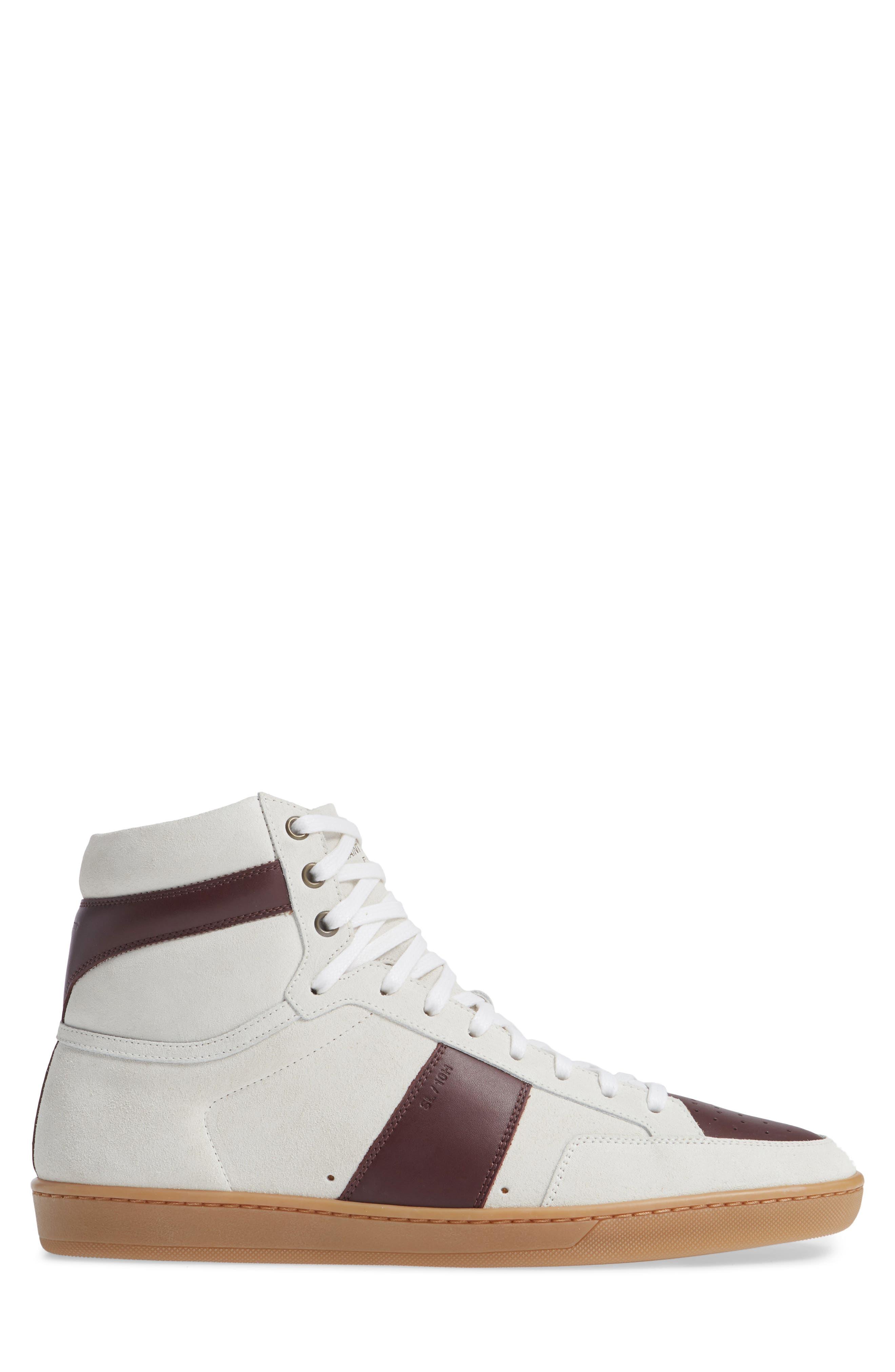 SL/10H Signature Court Classic High-Top Sneaker,                             Alternate thumbnail 6, color,                             Milk/ Barolo