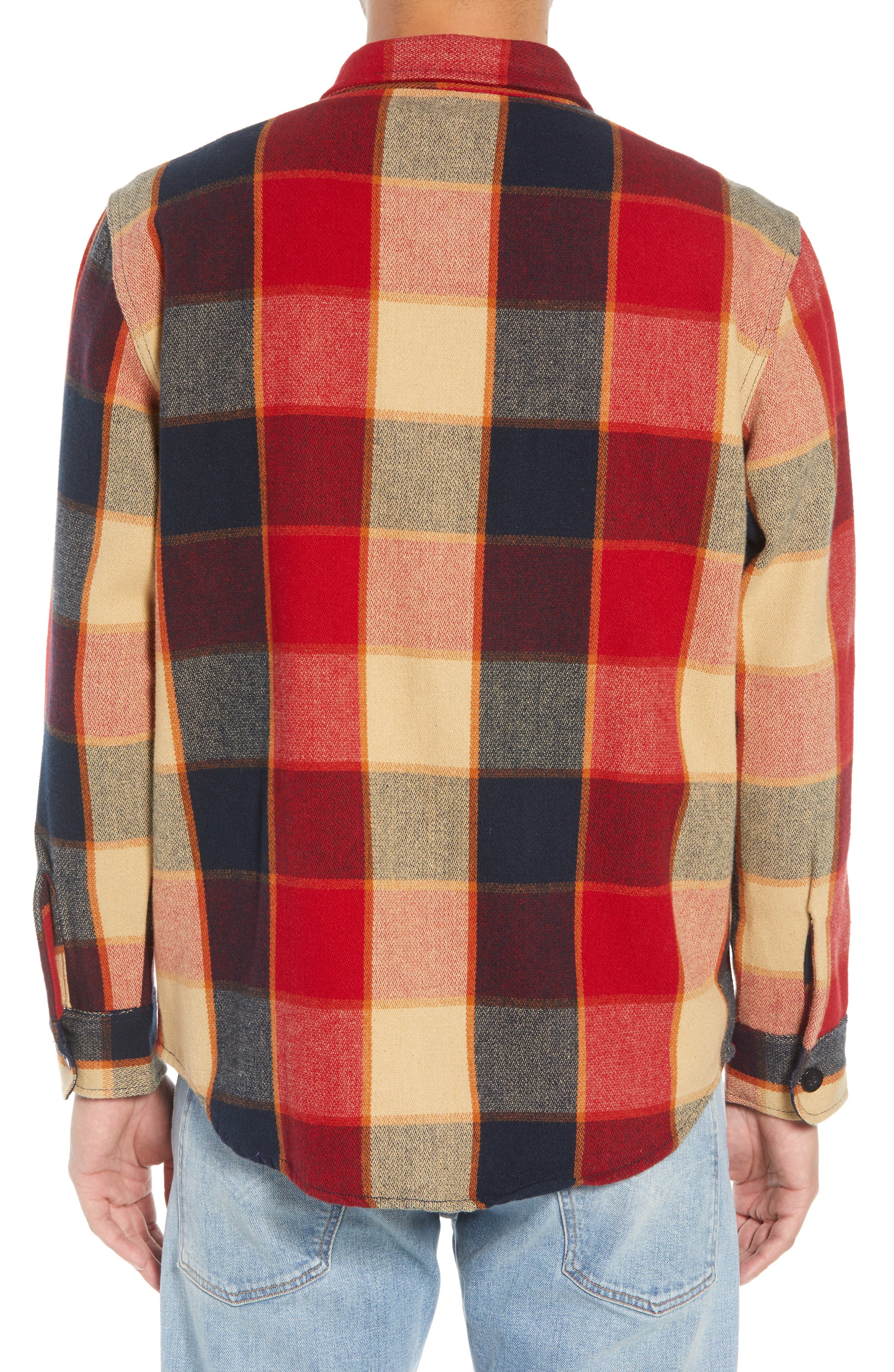 Durham Flannel Shirt,                             Alternate thumbnail 3, color,                             Red/ Navy