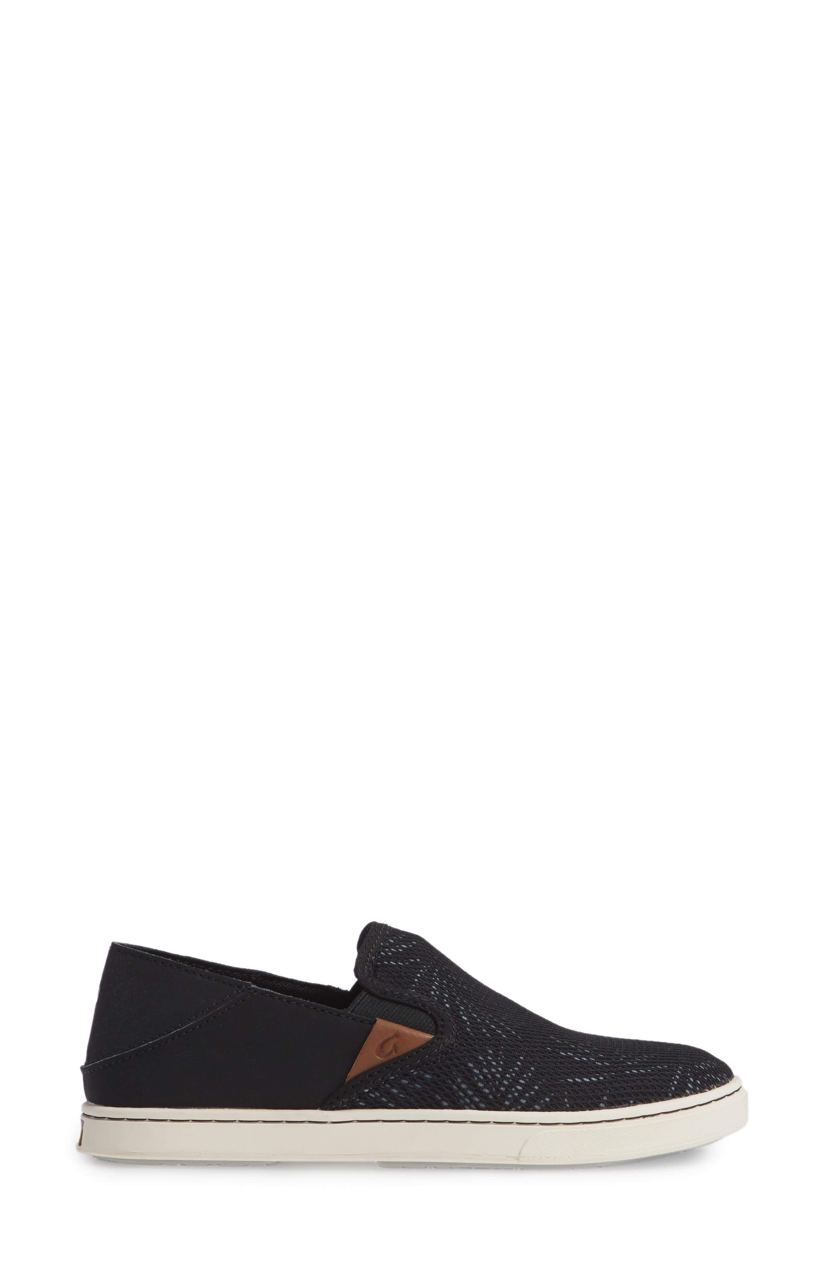 'Pehuea' Slip-On Sneaker,                             Alternate thumbnail 3, color,                             Black/ Palm Fabric