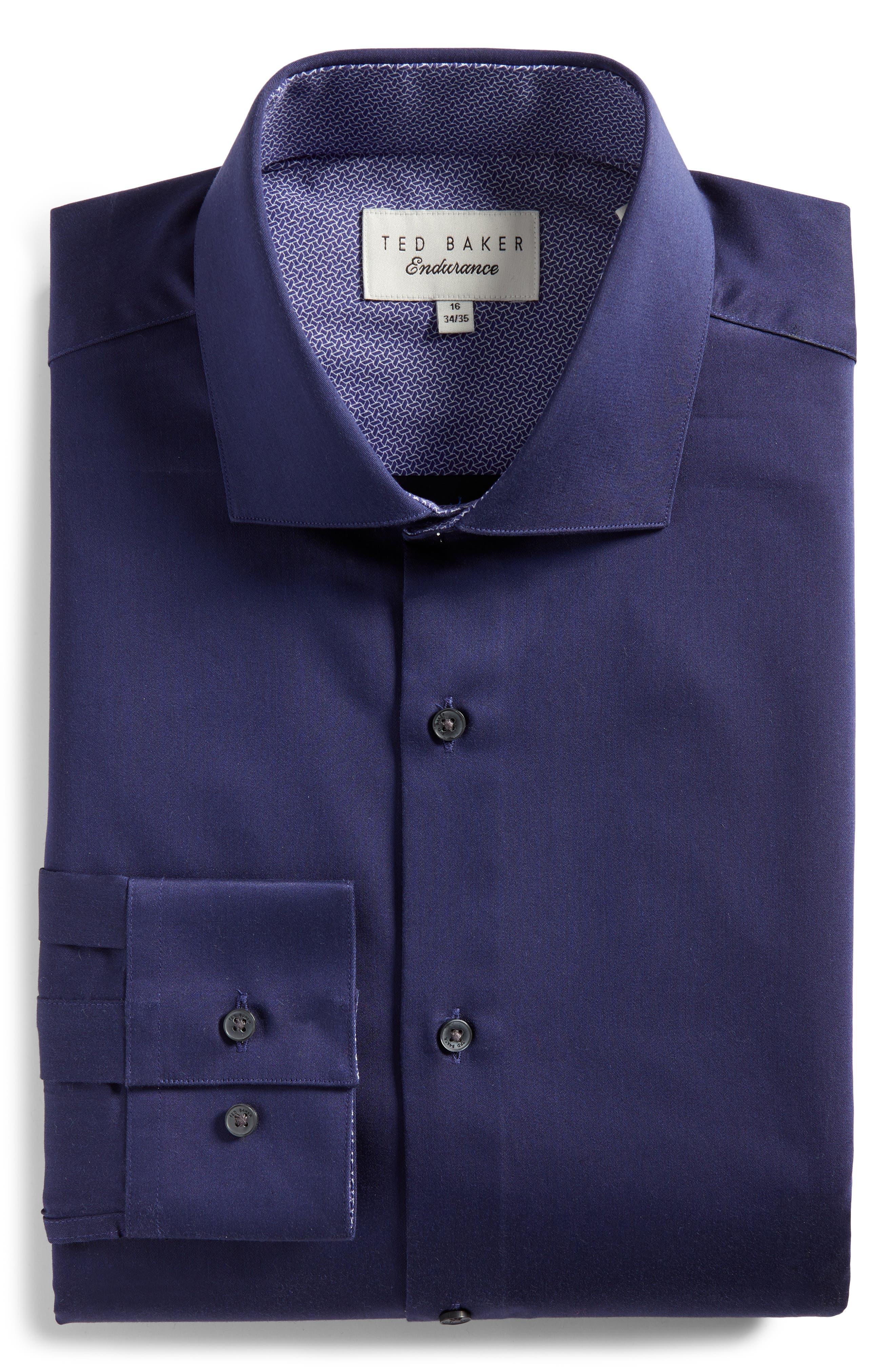 Endurance Bookers Slim Fit Solid Dress Shirt,                             Alternate thumbnail 6, color,                             Navy
