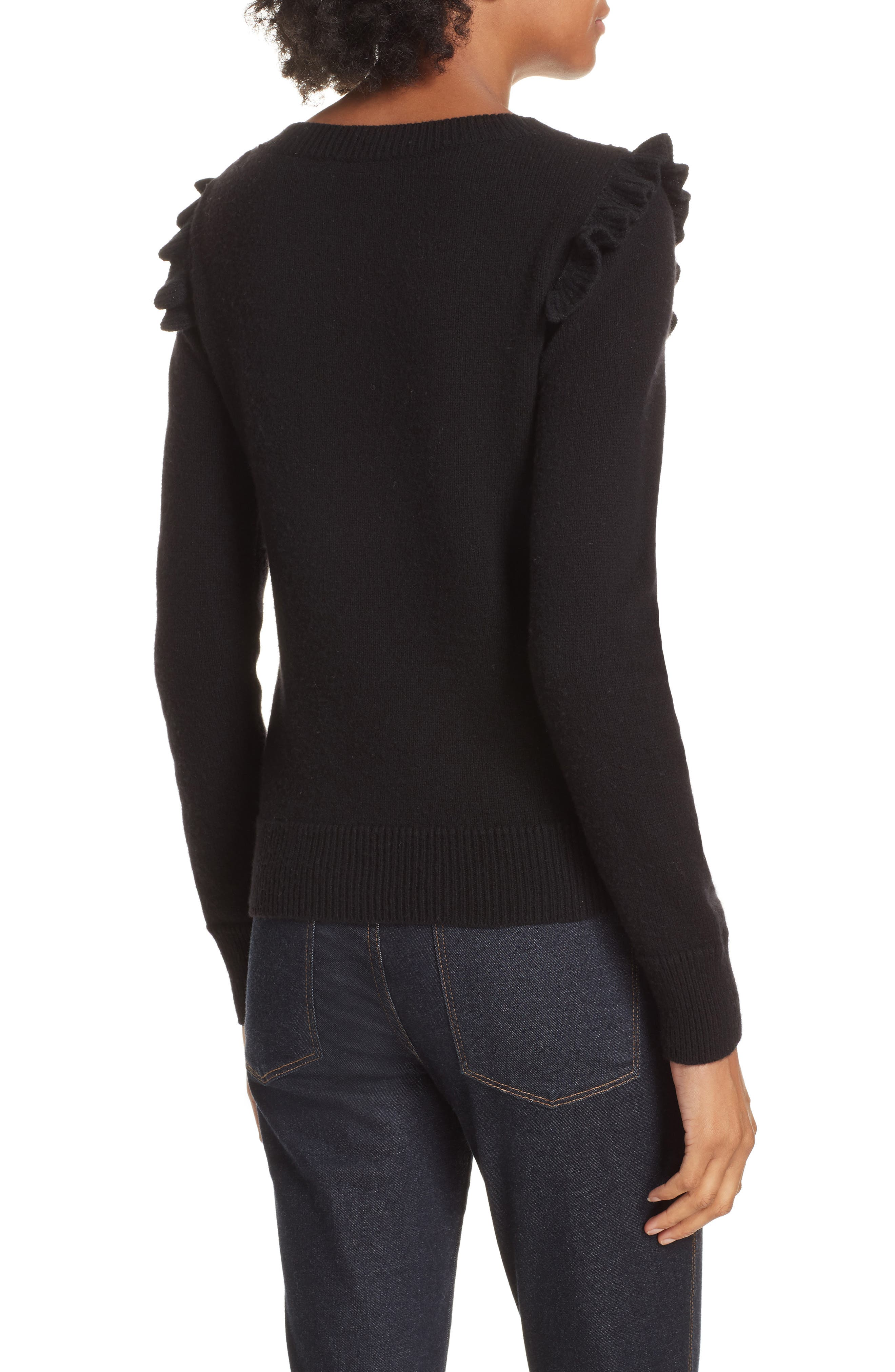 Emilie Embroidered Sweater,                             Alternate thumbnail 2, color,                             Black