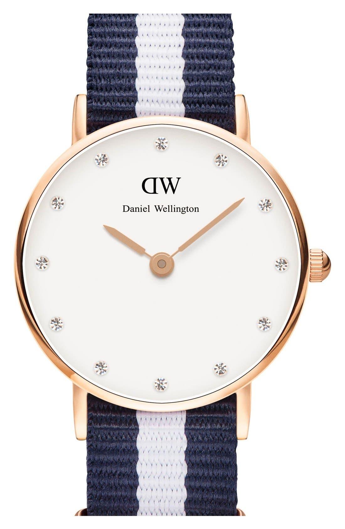 Alternate Image 1 Selected - Daniel Wellington 'Classy Glasgow' Crystal Index NATO Strap Watch, 26mm