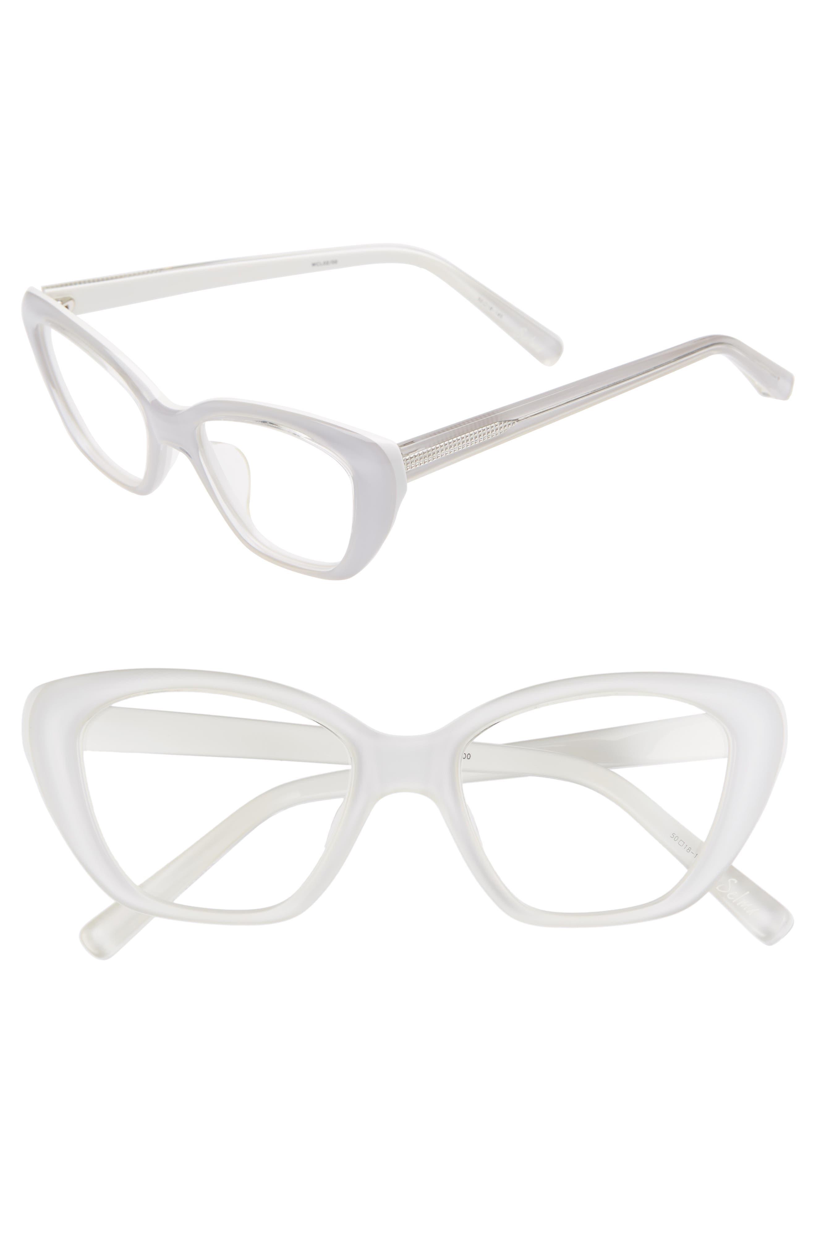 'Selma' 50mm Optical Glasses,                             Main thumbnail 1, color,                             Shiny Crystal White