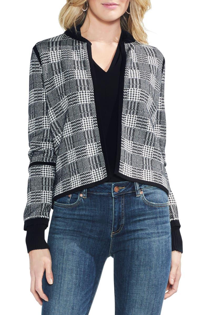 Plaid Jacquard Sweater Jacket,                         Main,                         color, Rich Black
