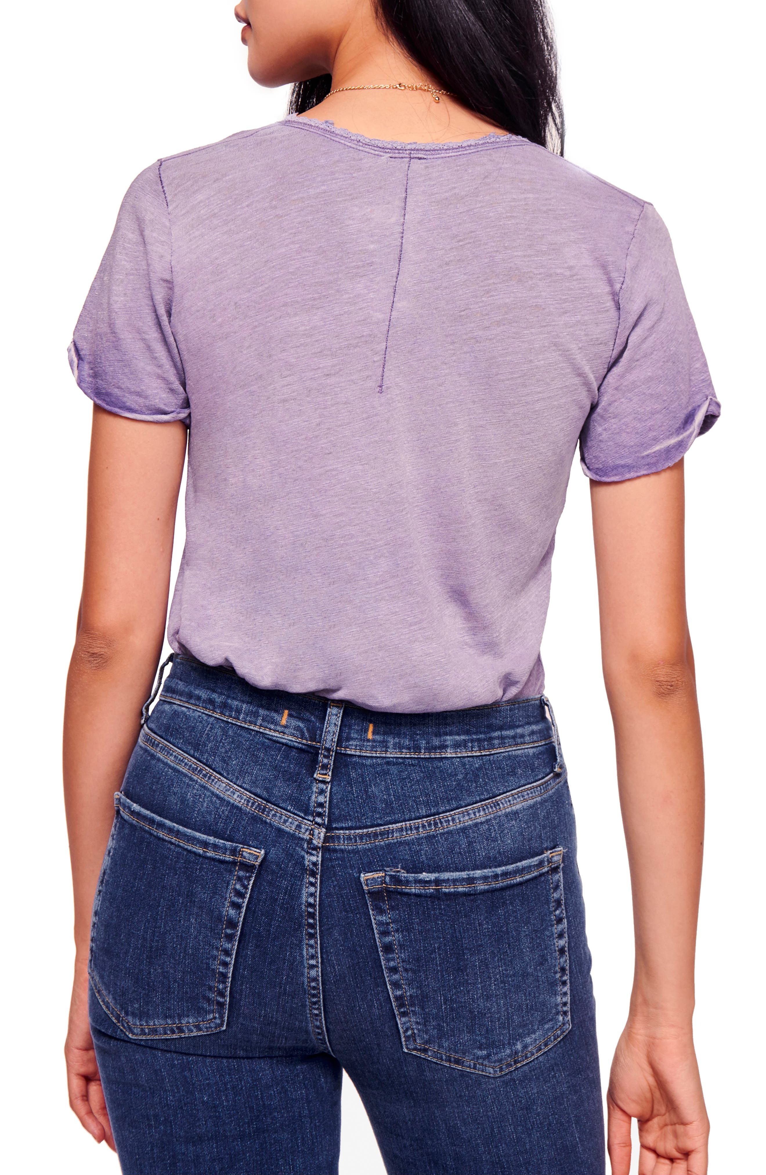 We the Free by Free People Saturday Lace Trim Linen Blend Tee,                             Alternate thumbnail 2, color,                             Lilac