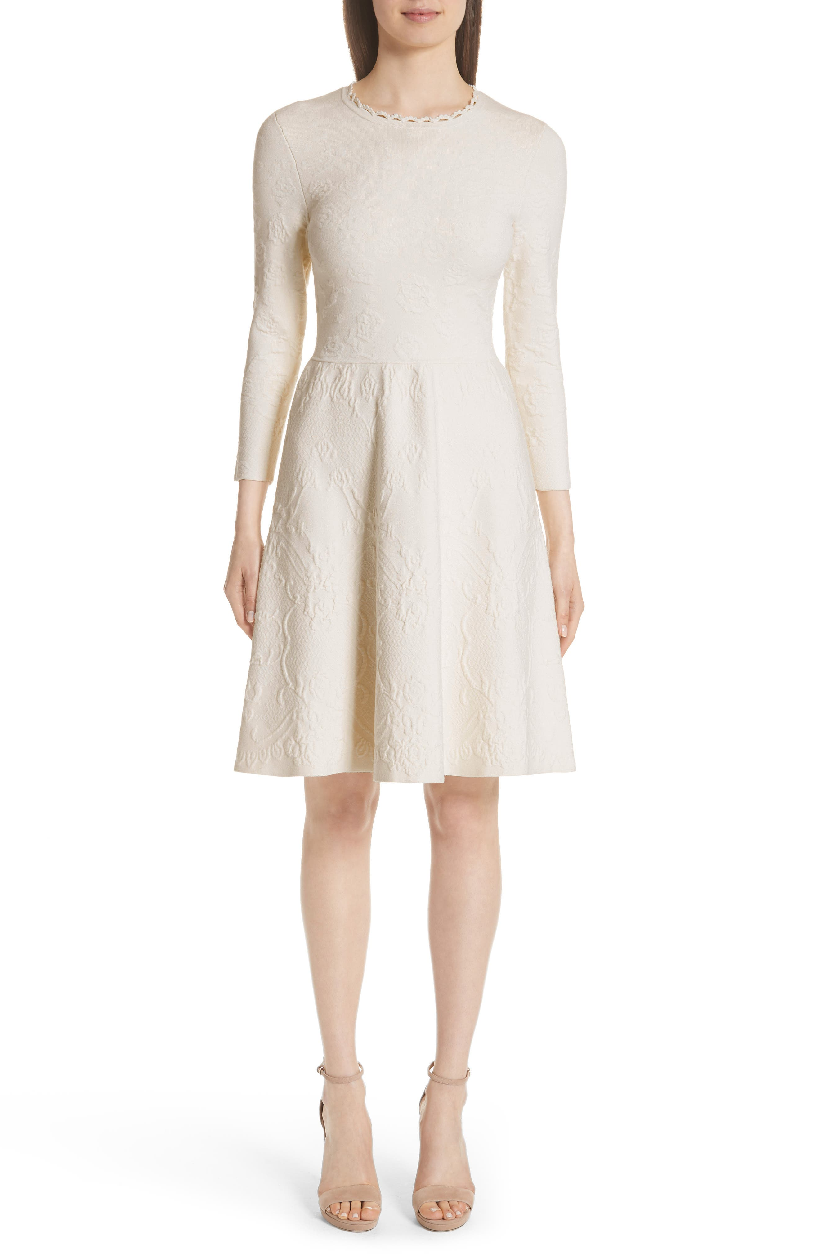 MATELASSE FIT & FLARE DRESS