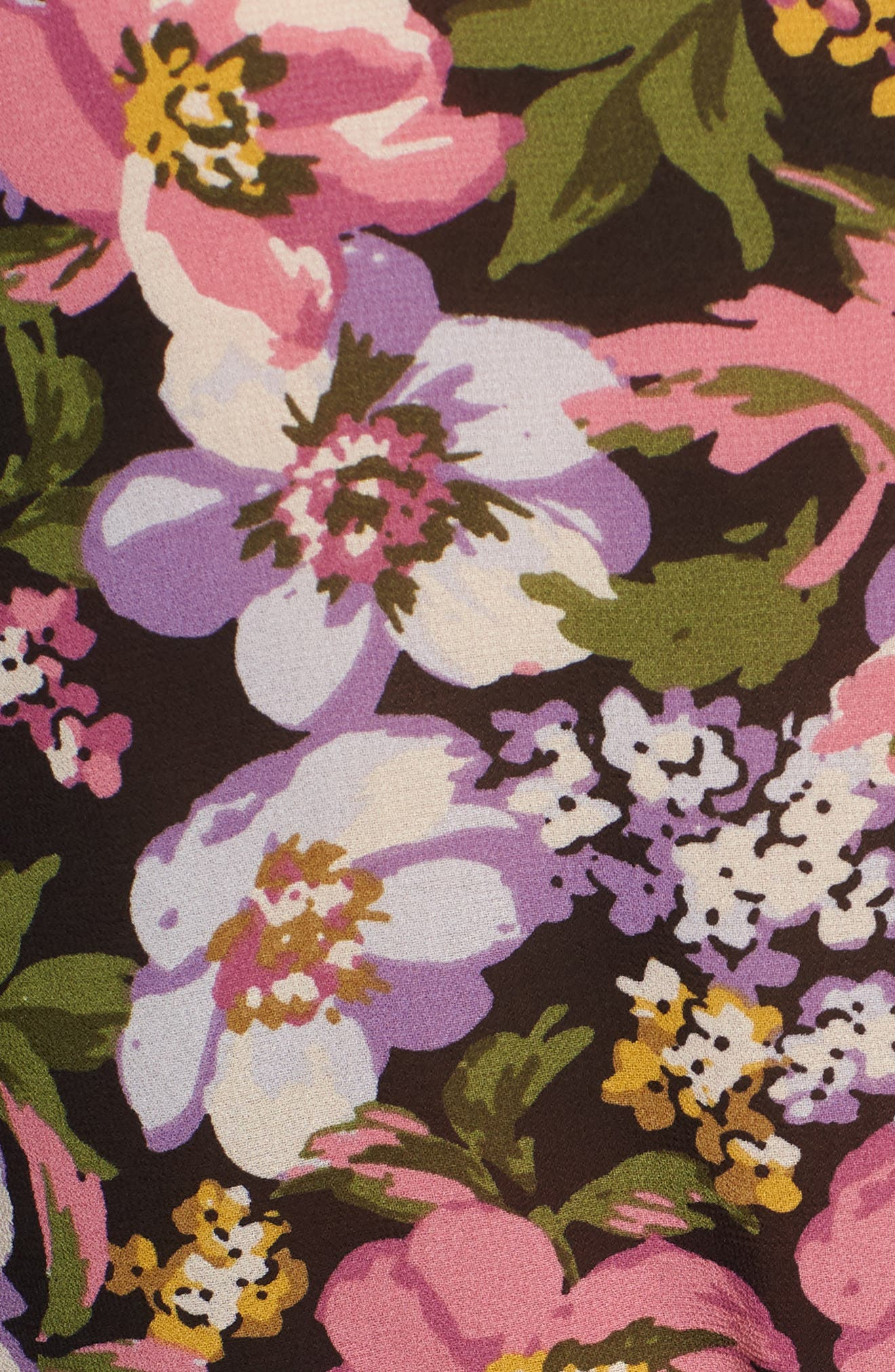 Beth Floral Top,                             Alternate thumbnail 5, color,                             Black Petal Floral