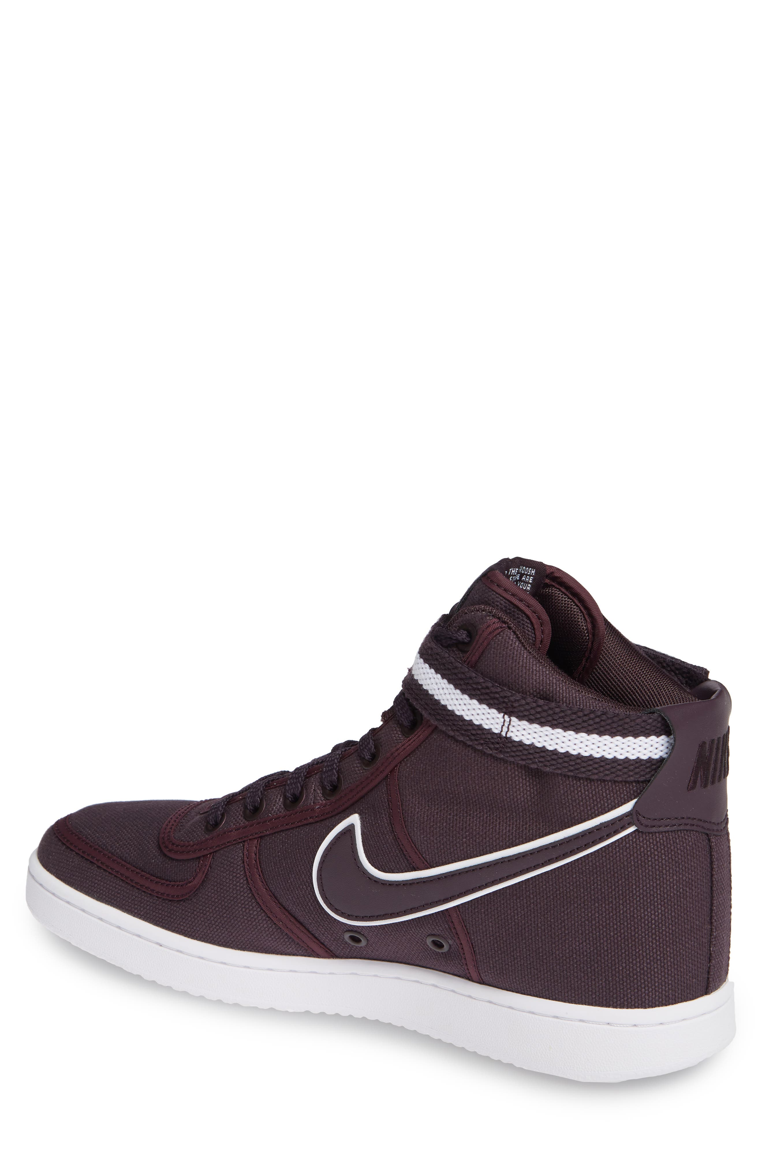 Vandal High Supreme High Top Sneaker,                             Alternate thumbnail 2, color,                             Burgundy Ash/ White