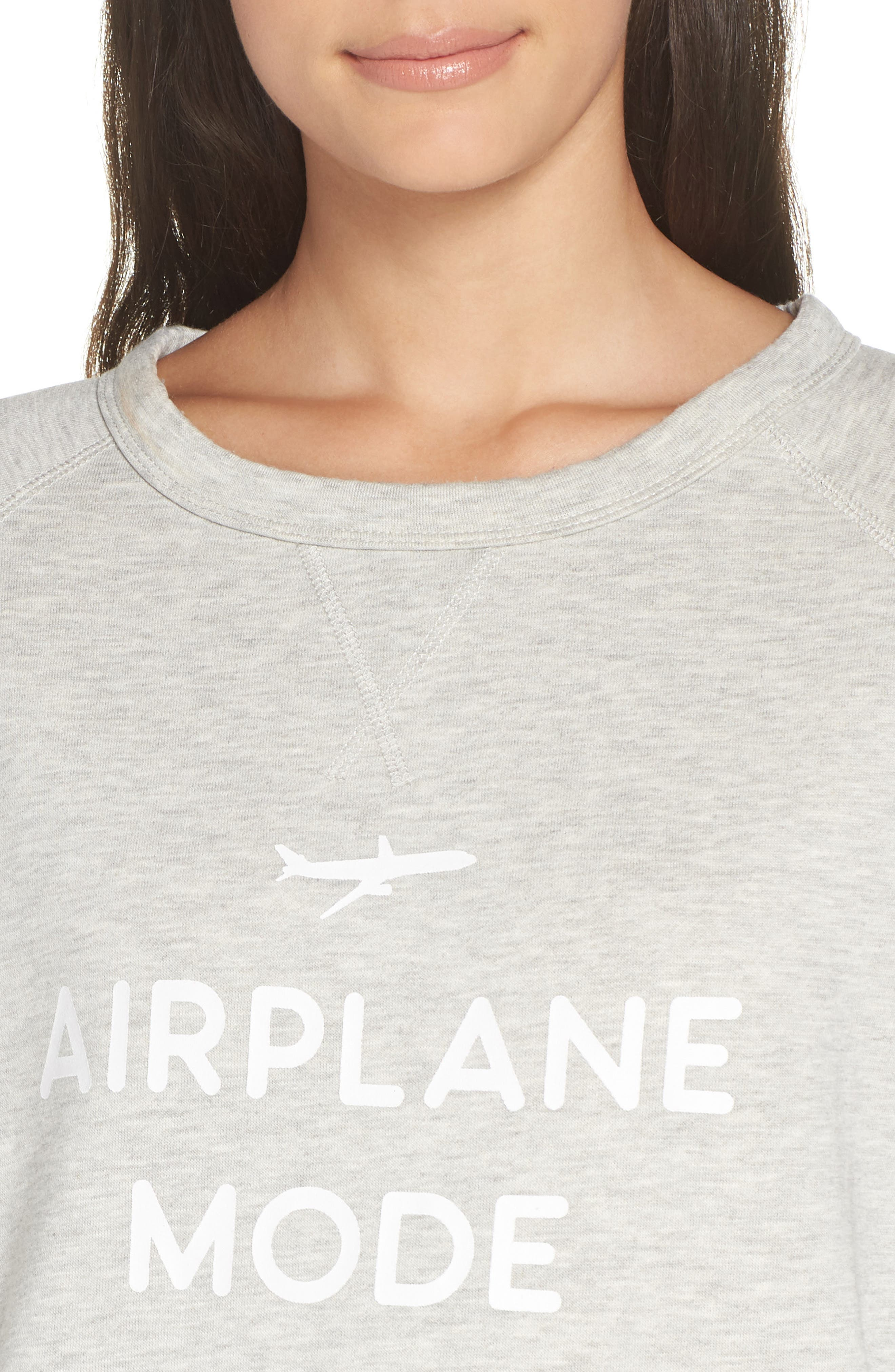 Airplane Mode Cozy Lounge Sweatshirt,                             Alternate thumbnail 4, color,                             Pebble Heather