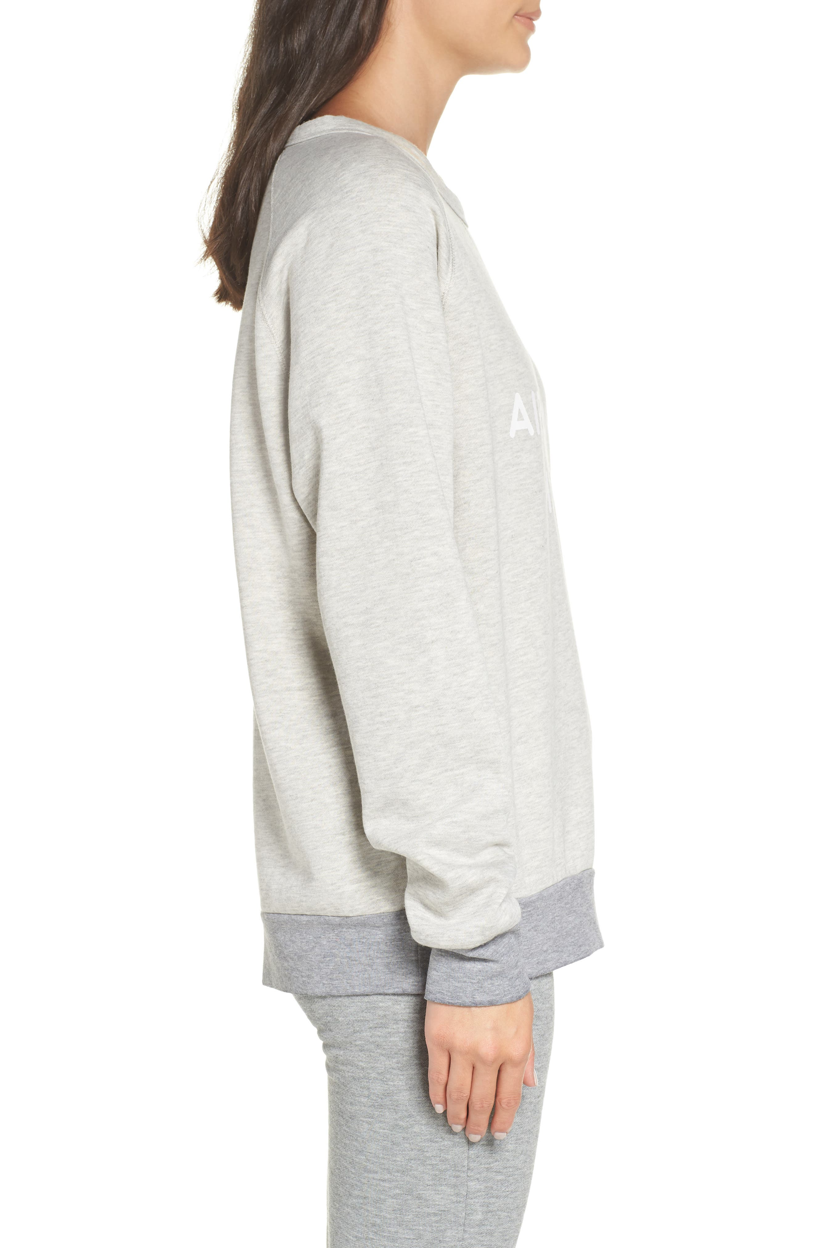 Airplane Mode Cozy Lounge Sweatshirt,                             Alternate thumbnail 3, color,                             Pebble Heather