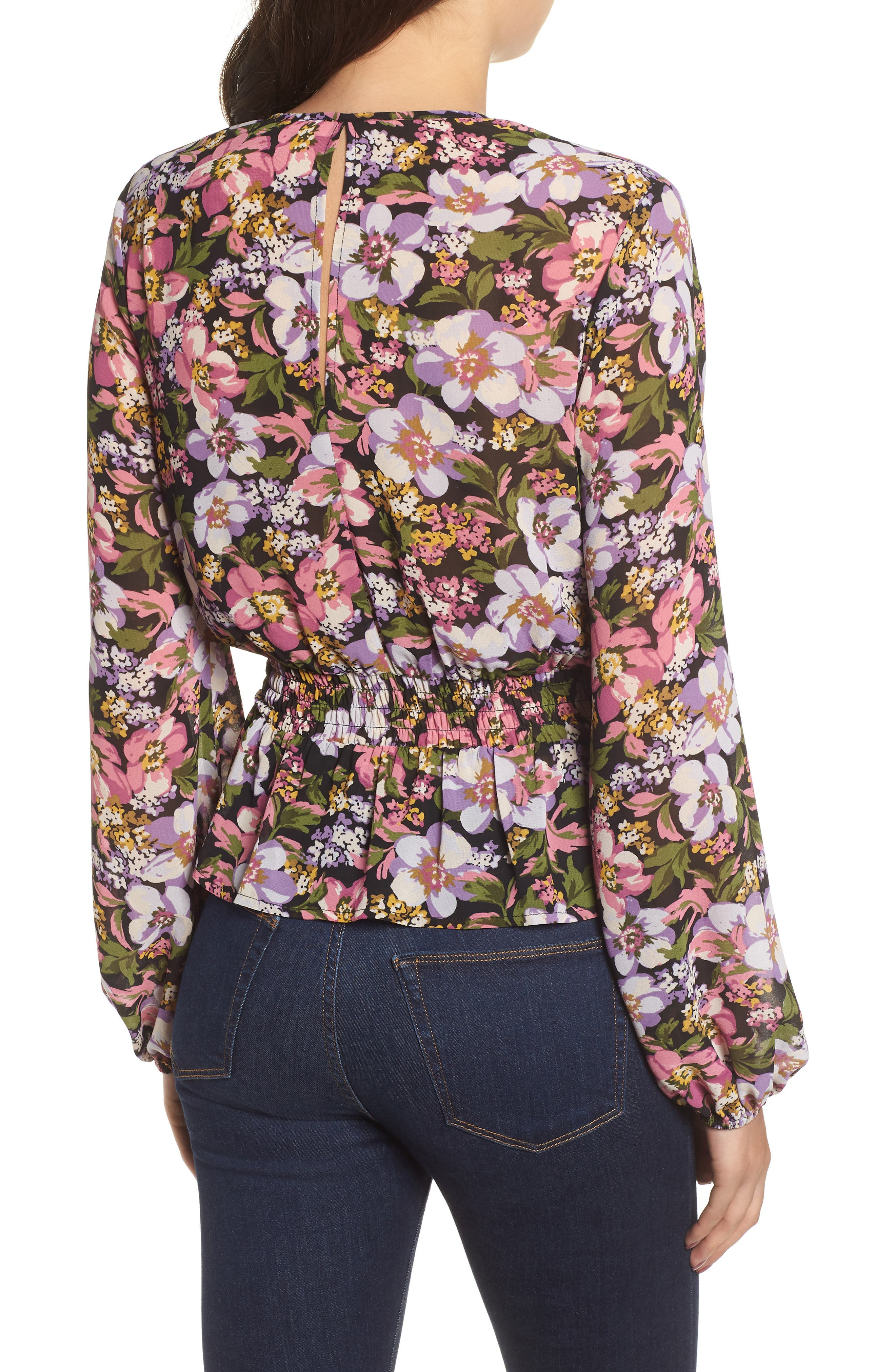 Beth Floral Top,                             Alternate thumbnail 2, color,                             Black Petal Floral
