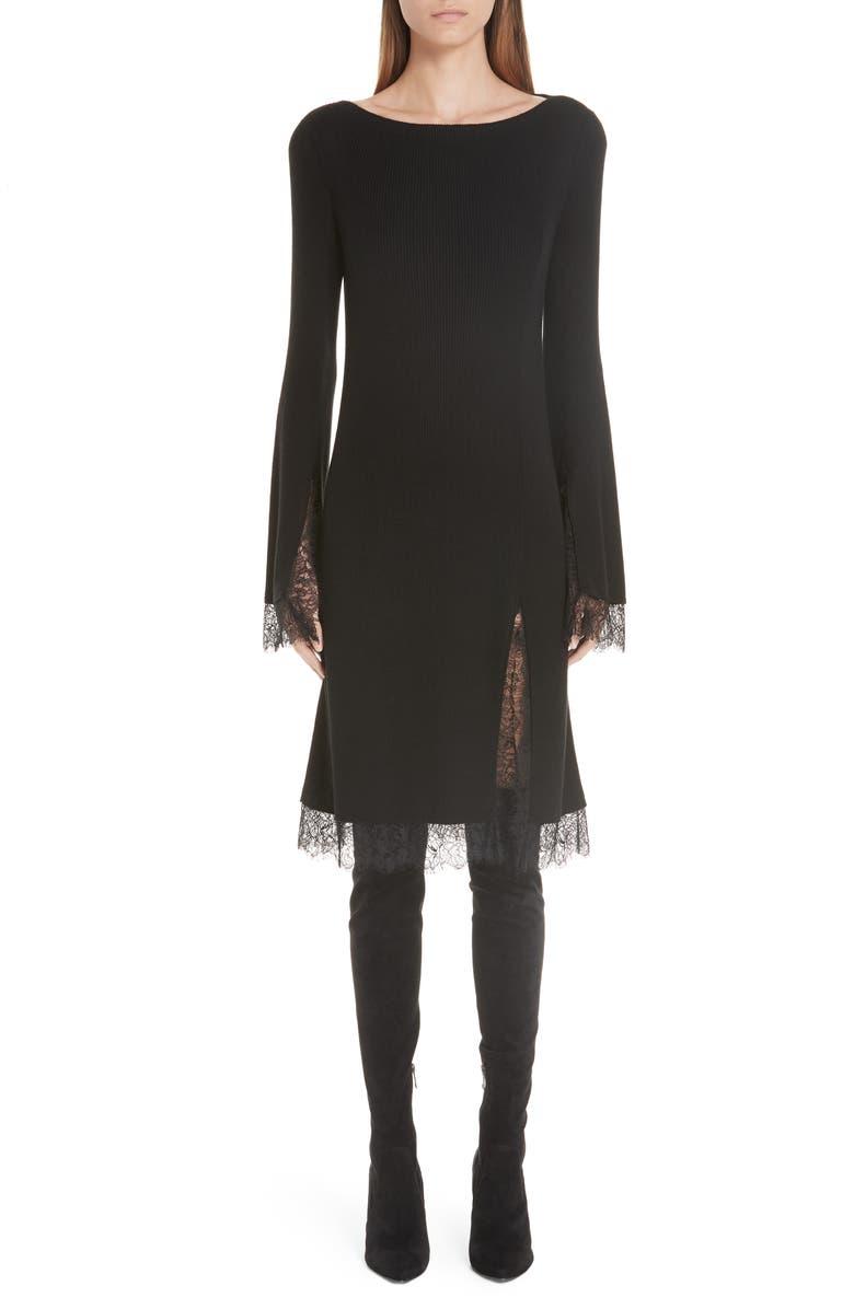 Lace Trim Ribbed Silk Dress