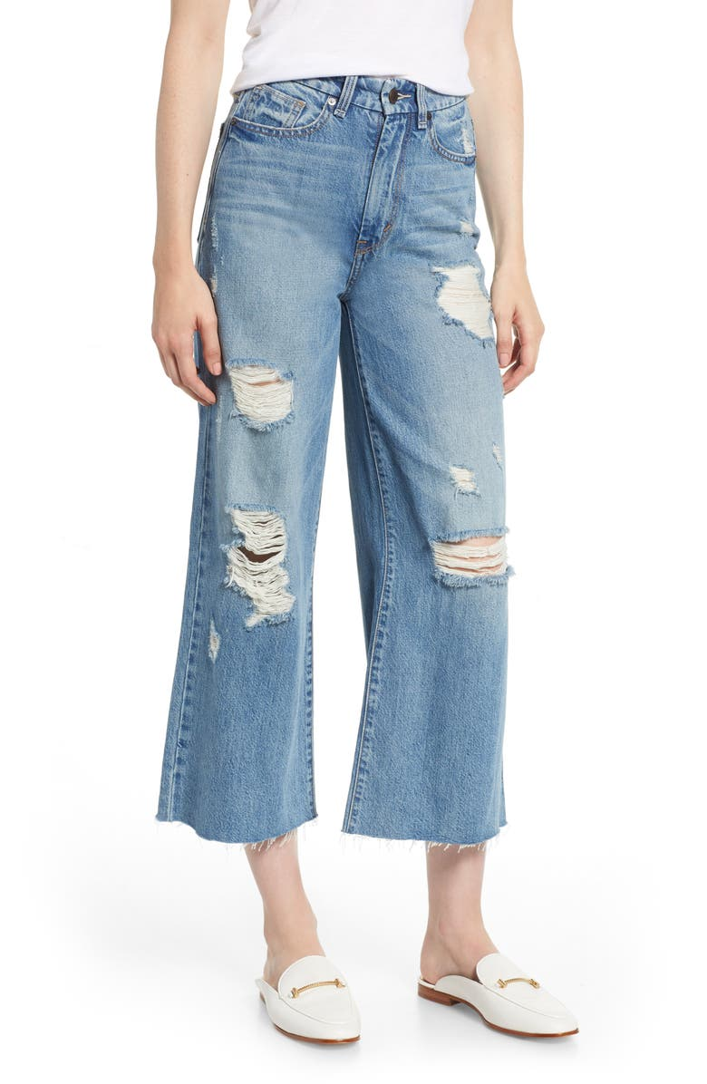 Jetti Ripped High Waist Crop Flare Jeans