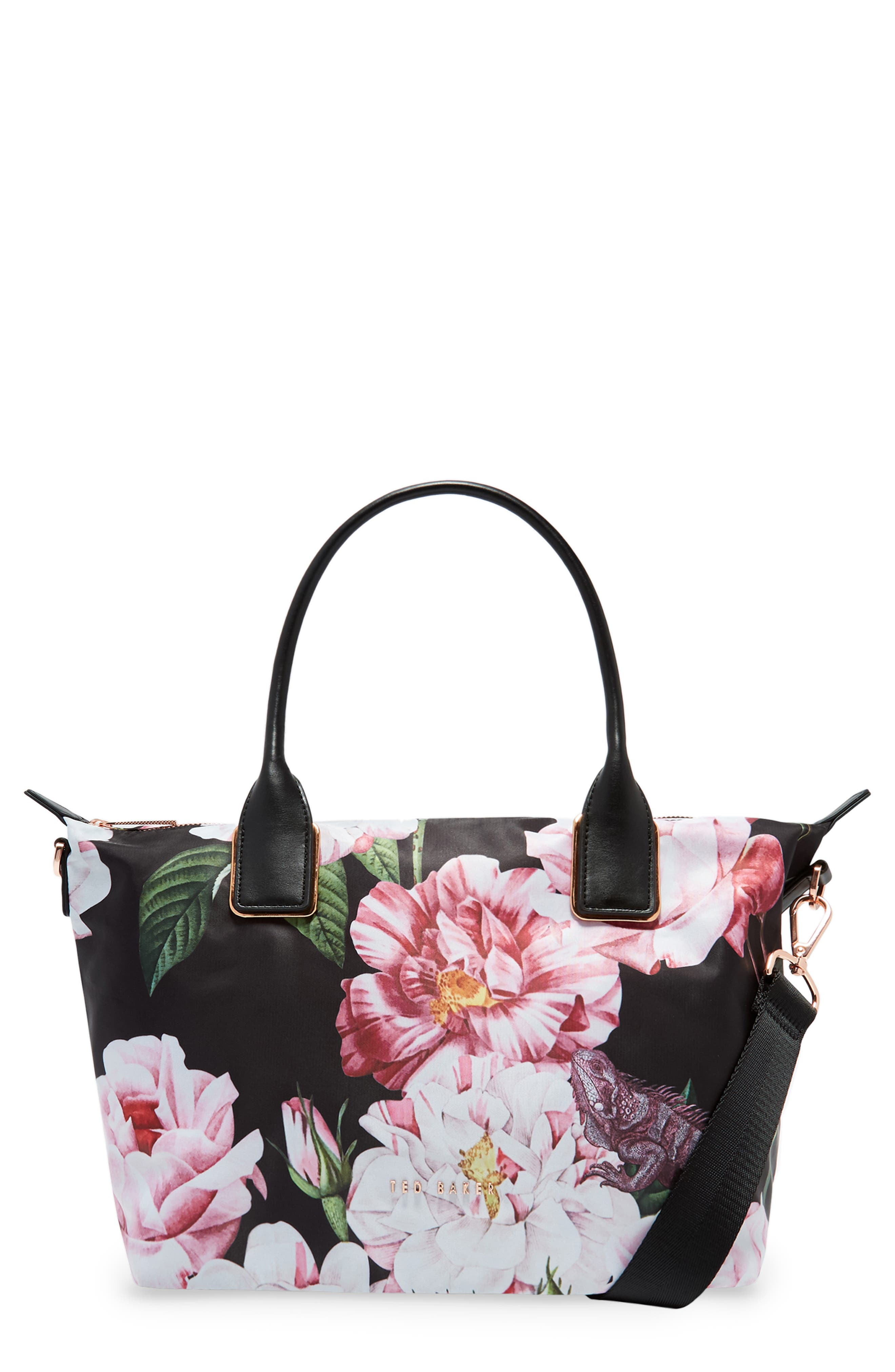 Small Iguazu Print Nylon Tote,                             Main thumbnail 1, color,                             Black