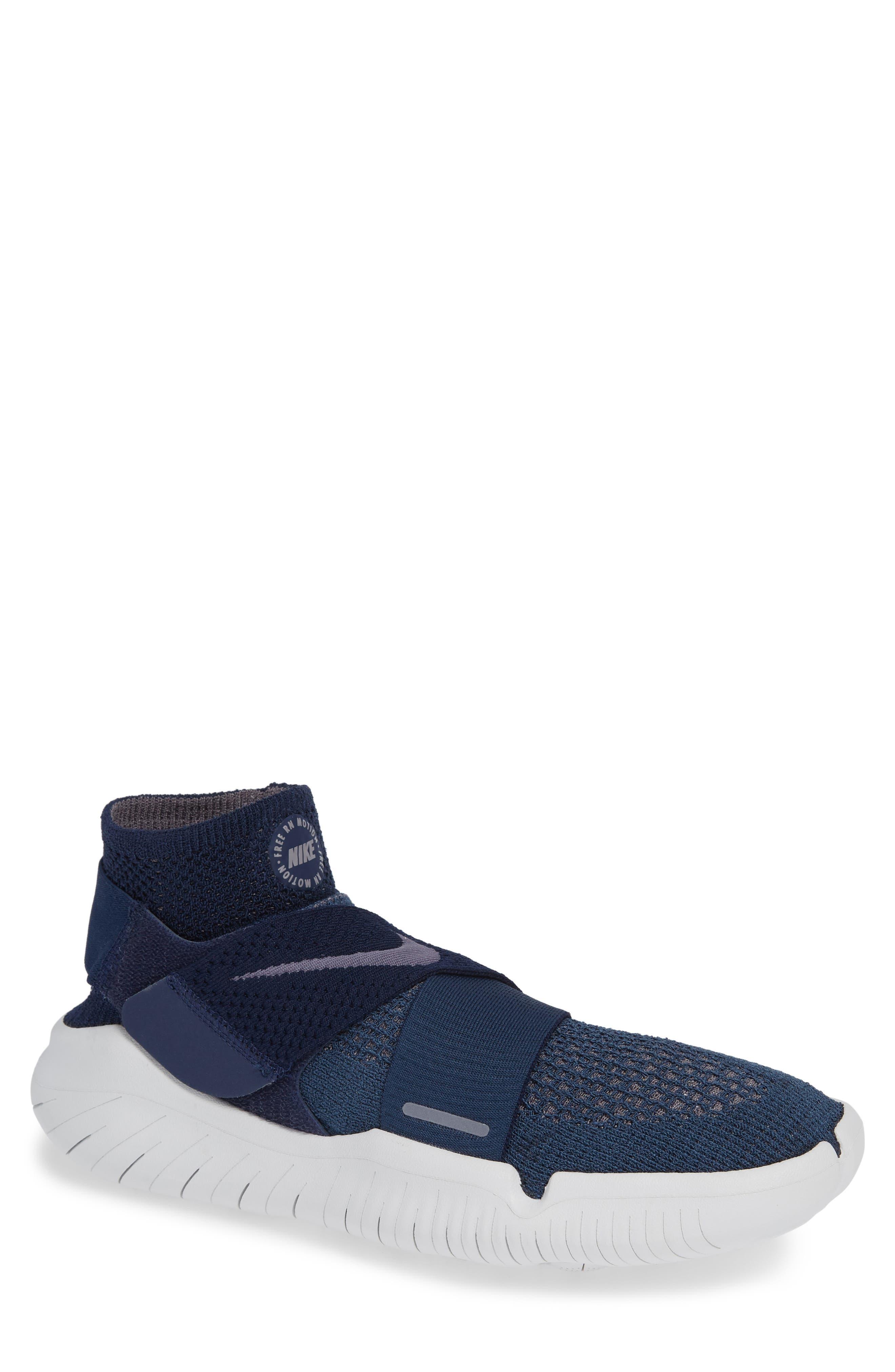 Free RN Motion 2018 Flyknit Running Shoe,                         Main,                         color, Squadron Blue/ Gunsmoke