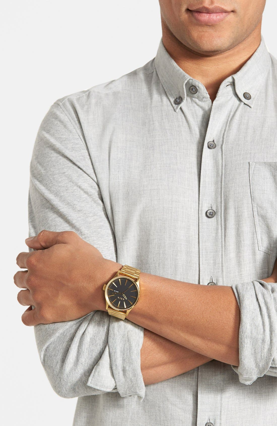 Sentry Bracelet Watch, 42mm,                             Alternate thumbnail 4, color,                             Gold/ Black
