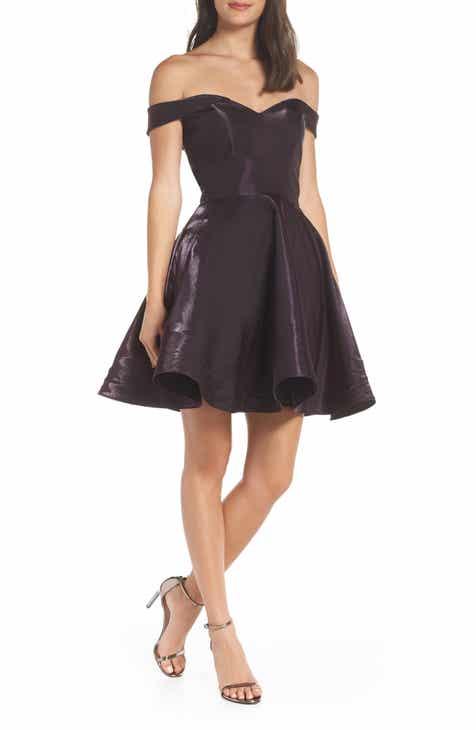 XSCAPE Off the Shoulder Shimmer Party Dress