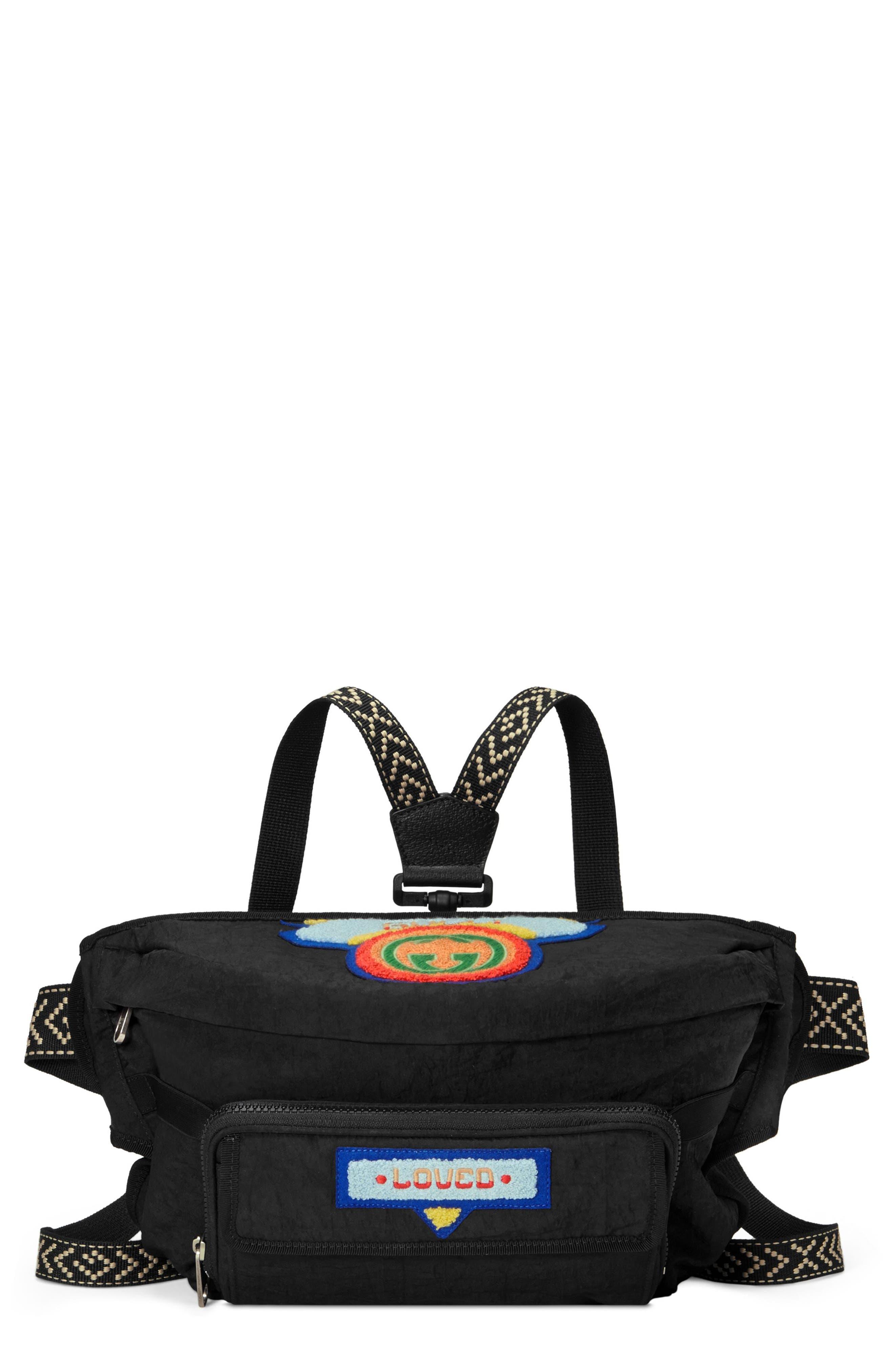 Patch Waist Pack,                         Main,                         color, Black