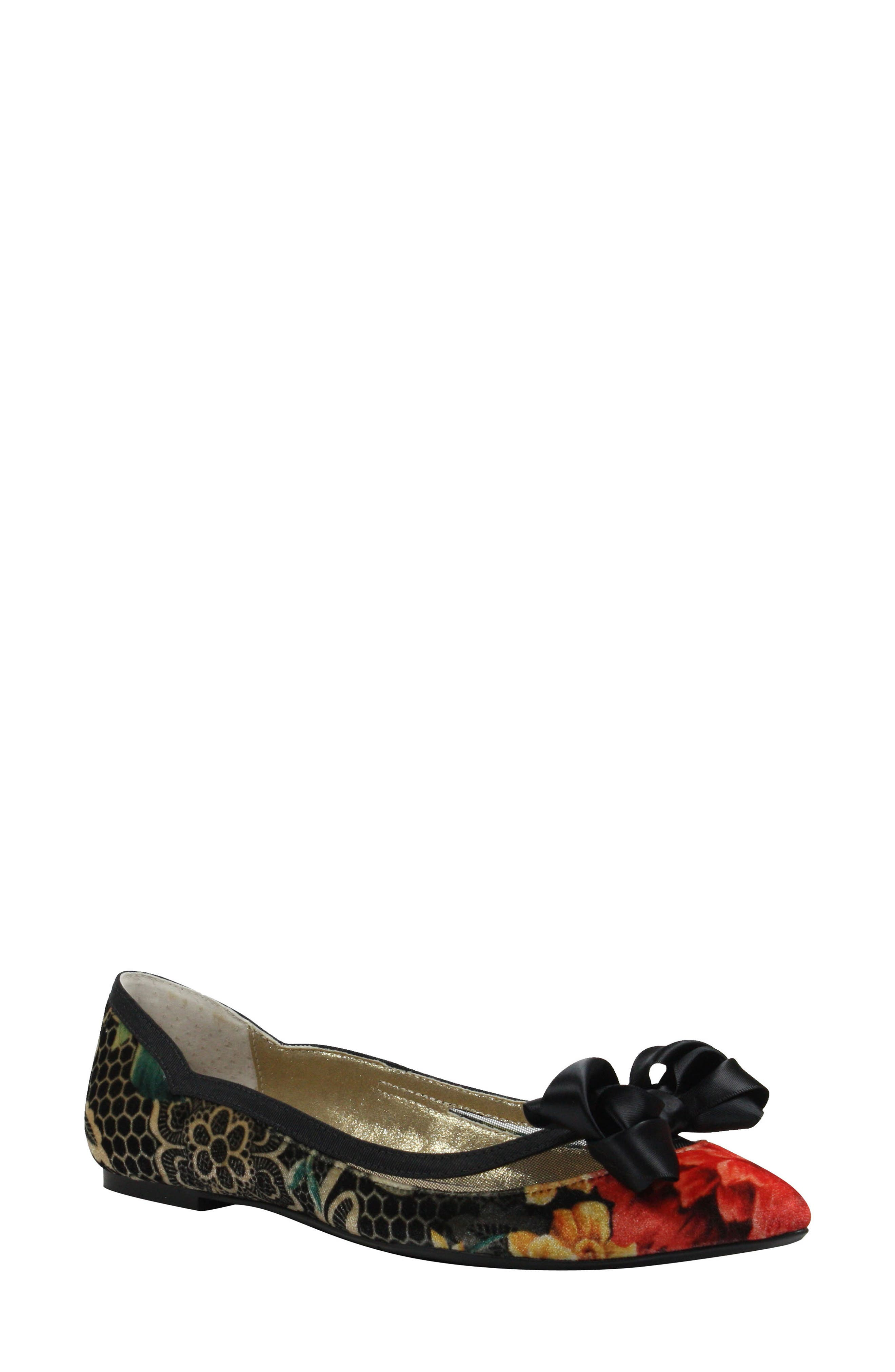 Allitson Bow Flat,                             Main thumbnail 1, color,                             Black/ Taupe/ Coral