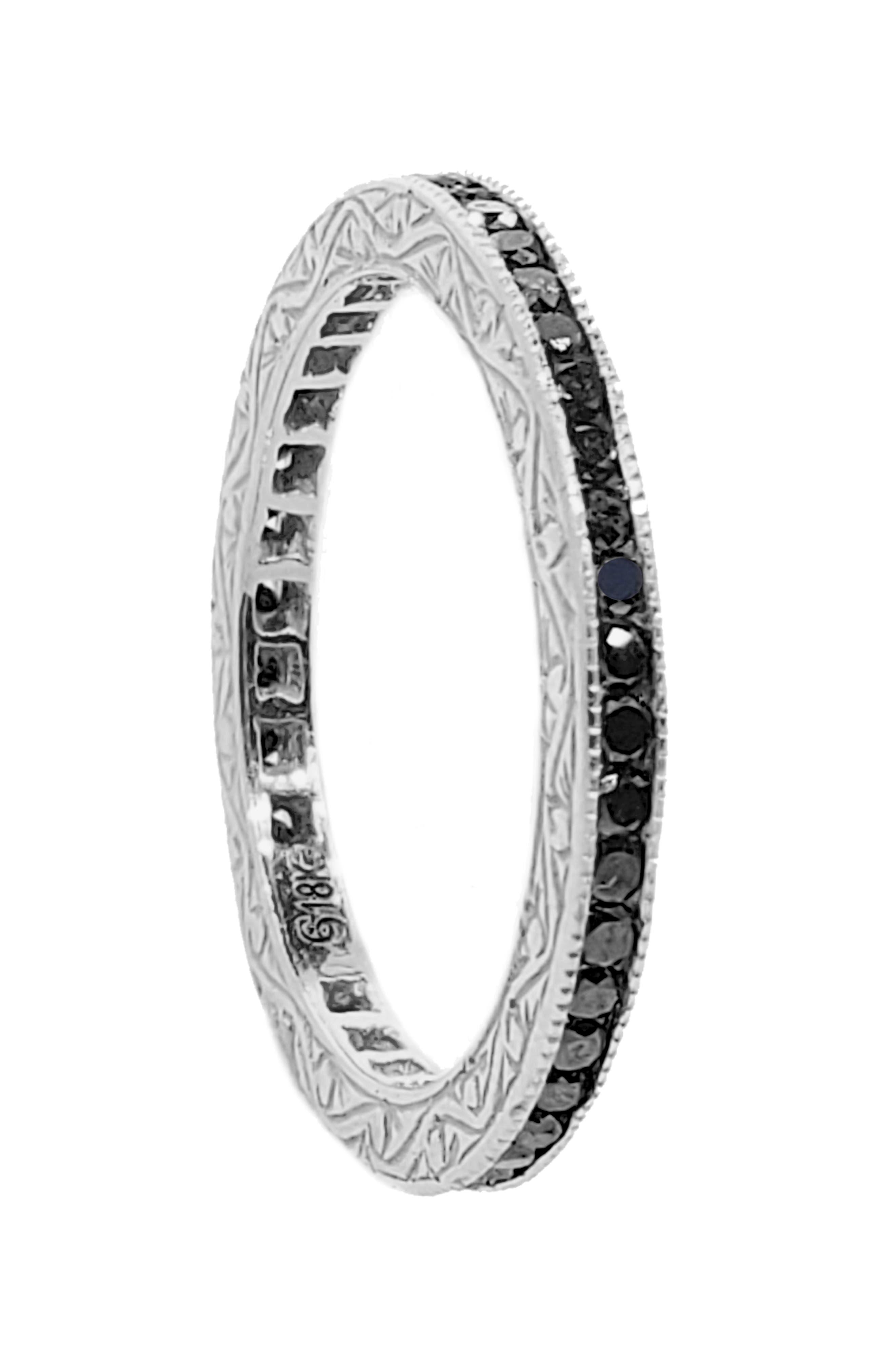 Channel Set Diamond Ring,                             Main thumbnail 1, color,                             White Gold/ Black Diamond