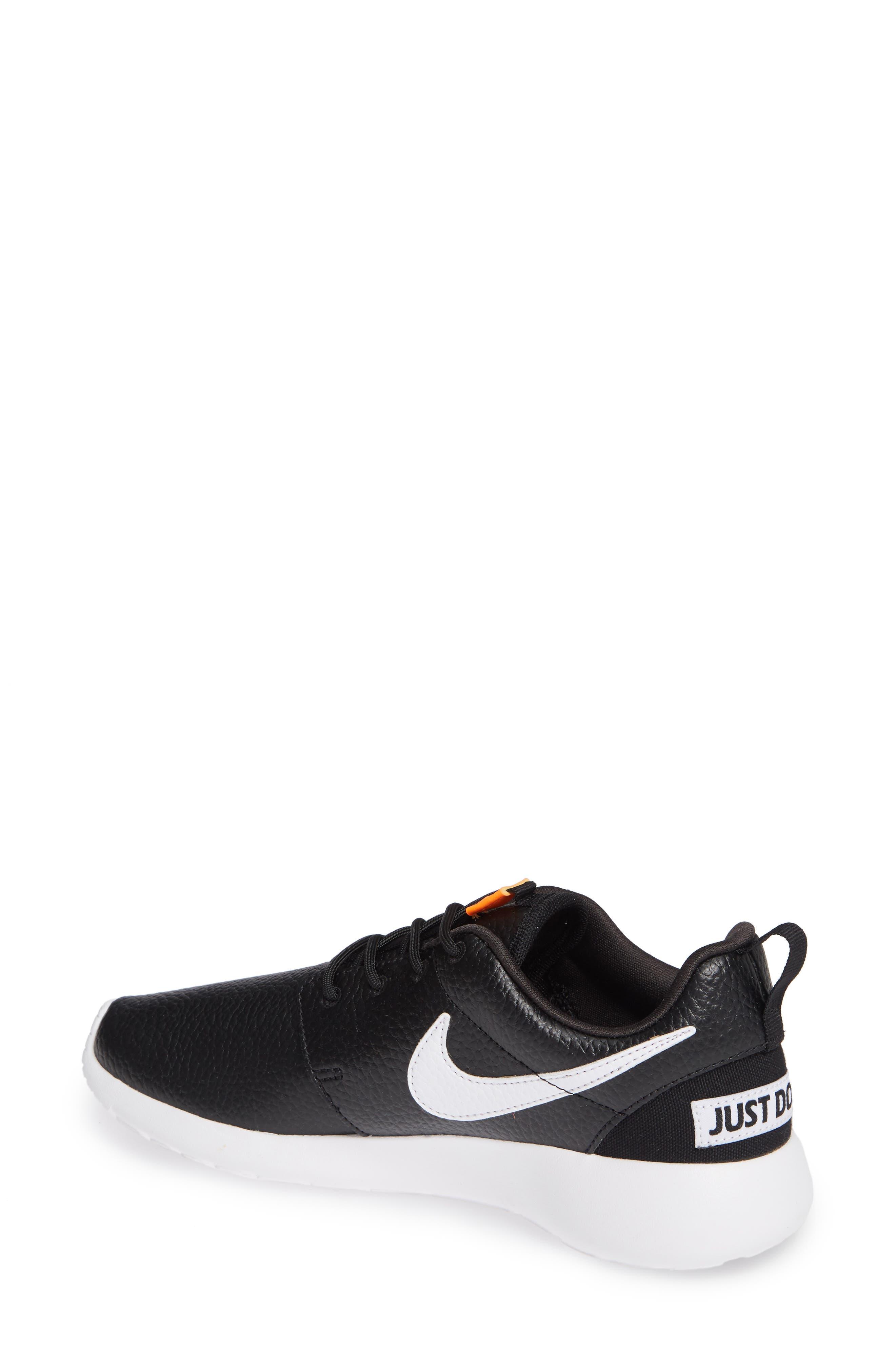 'Roshe Run' Print Sneaker,                             Alternate thumbnail 2, color,                             Black/ White/ Total Orange
